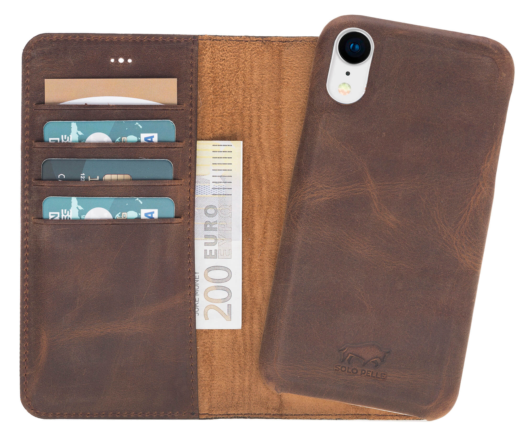"iPhone XR 6.1 Zoll Abnehmbare Lederhülle ""Clemson"" in Vintage Braun Leder Hülle Tasche Lederhülle Ledertasche"