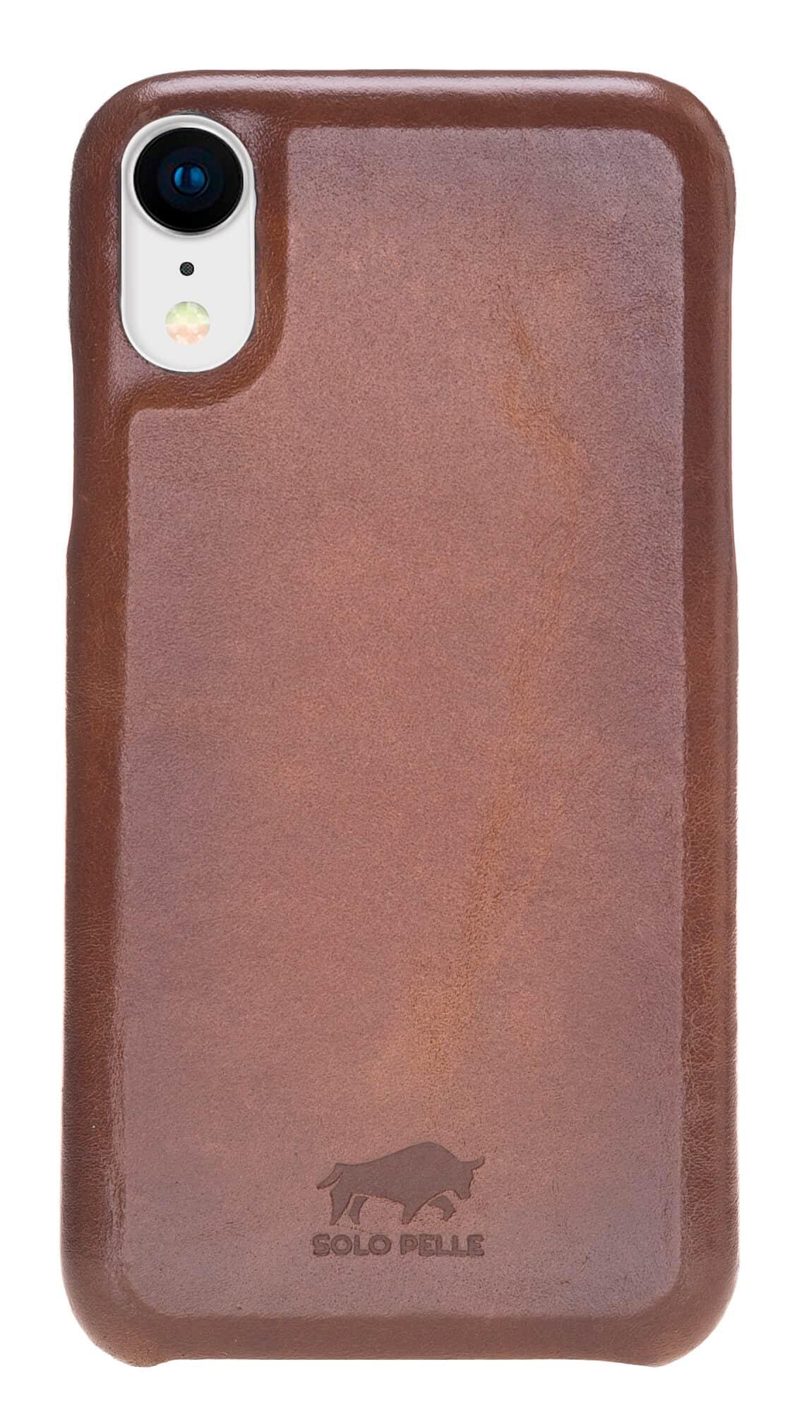 "iPhone XR 6.1 Zoll Abnehmbare Lederhülle ""Clemson"" in Cognac Braun Burned"