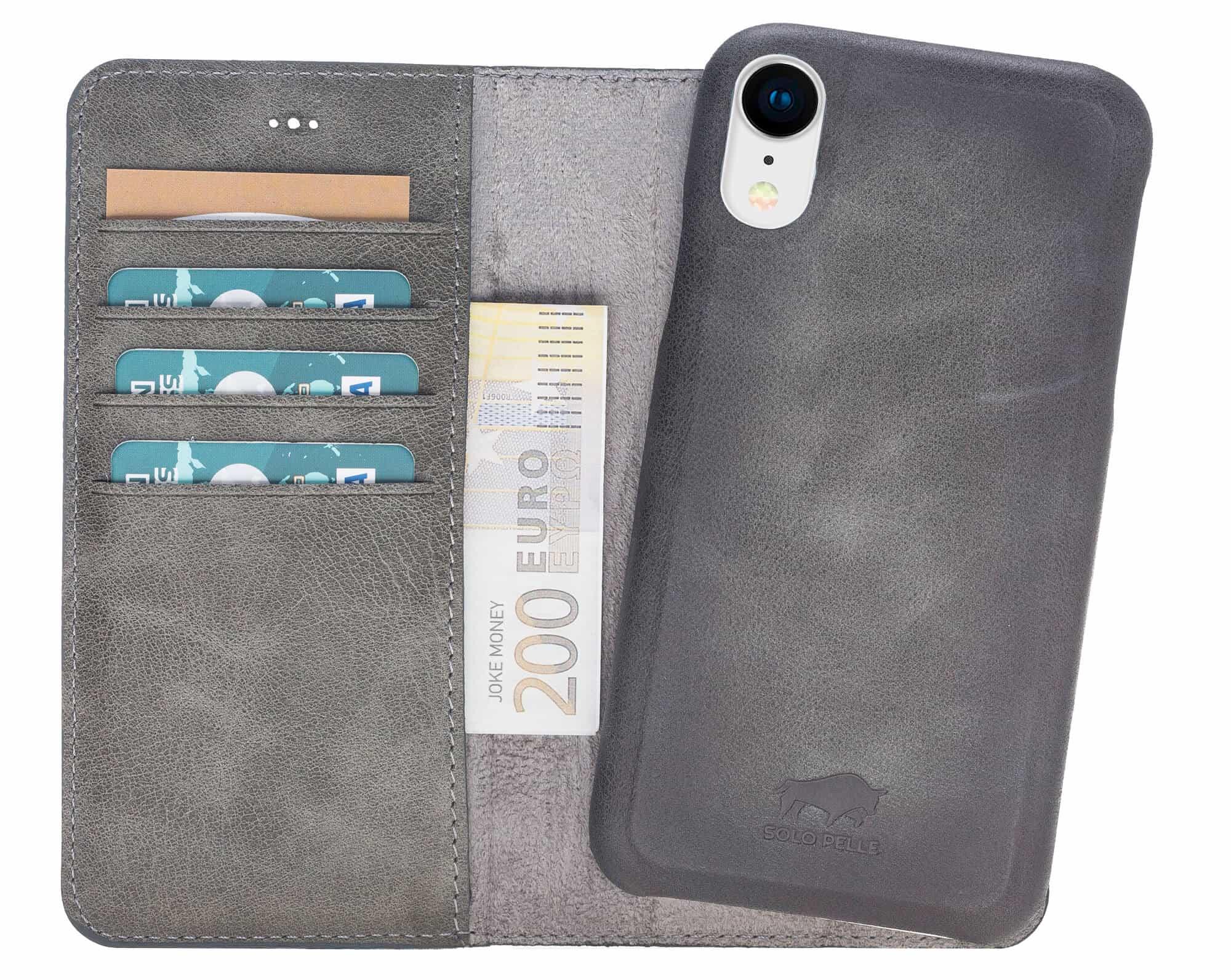 """iPhone XR 6.1 Zoll Abnehmbare Lederhülle """"Clemson"""" in Steingrau Burned inkl. Kartenfächer für Das original iPhone XR 6.1 Zoll"""