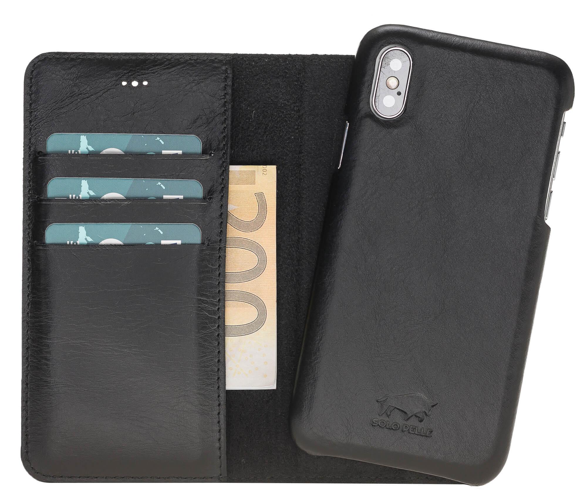 """iPhone X/XS abnehmbare Lederhülle """"Clemson"""" Leder Hülle Tasche Lederhülle Ledertasche  inkl. Kartenfächer in Vintage Braun"""