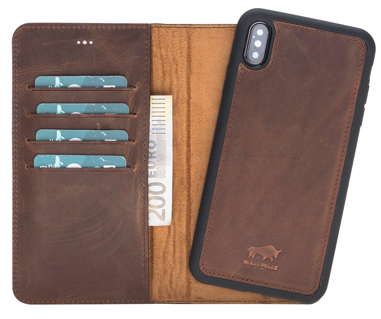 "c1ffcf523e710 iPhone XS Max Abnehmbare Lederhülle ""Harvard"" in Vintage Braun Leder Hülle  Tasche Lederhülle Ledertasche"