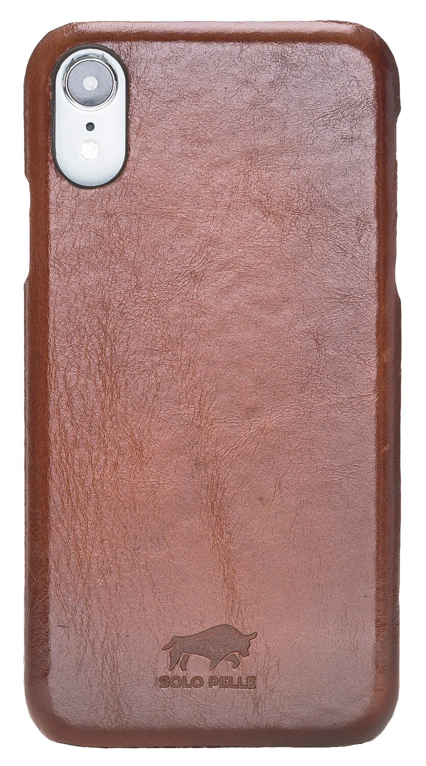 iPhone XR Lederhülle Yale in Cognac Braun Burned