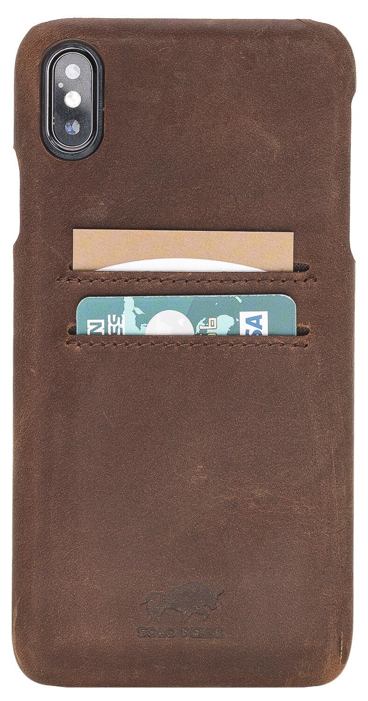 "iPhone XS Max ""Pomona"" Leder Hülle Tasche Lederhülle Ledertasche Backcover in Vintage Braun"