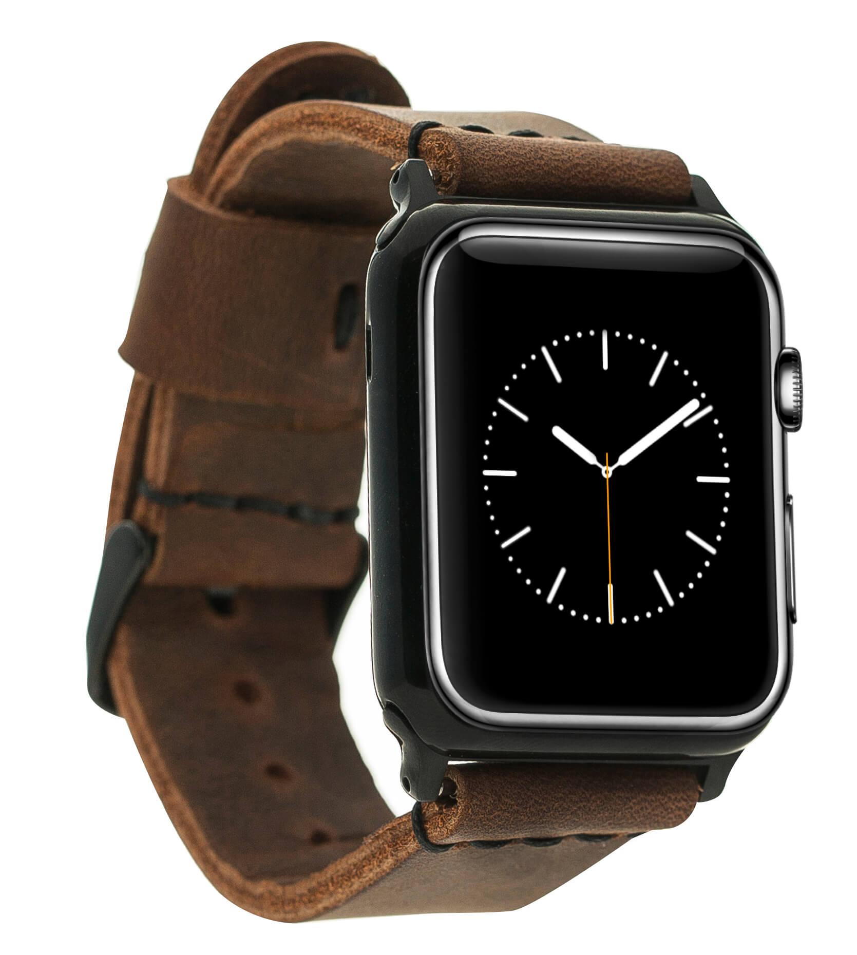 Armband aus echtem Leder für die Apple Watch Series 1-6 + SE Leder Lederarmband 38mm /40 mm in Vintage Braun