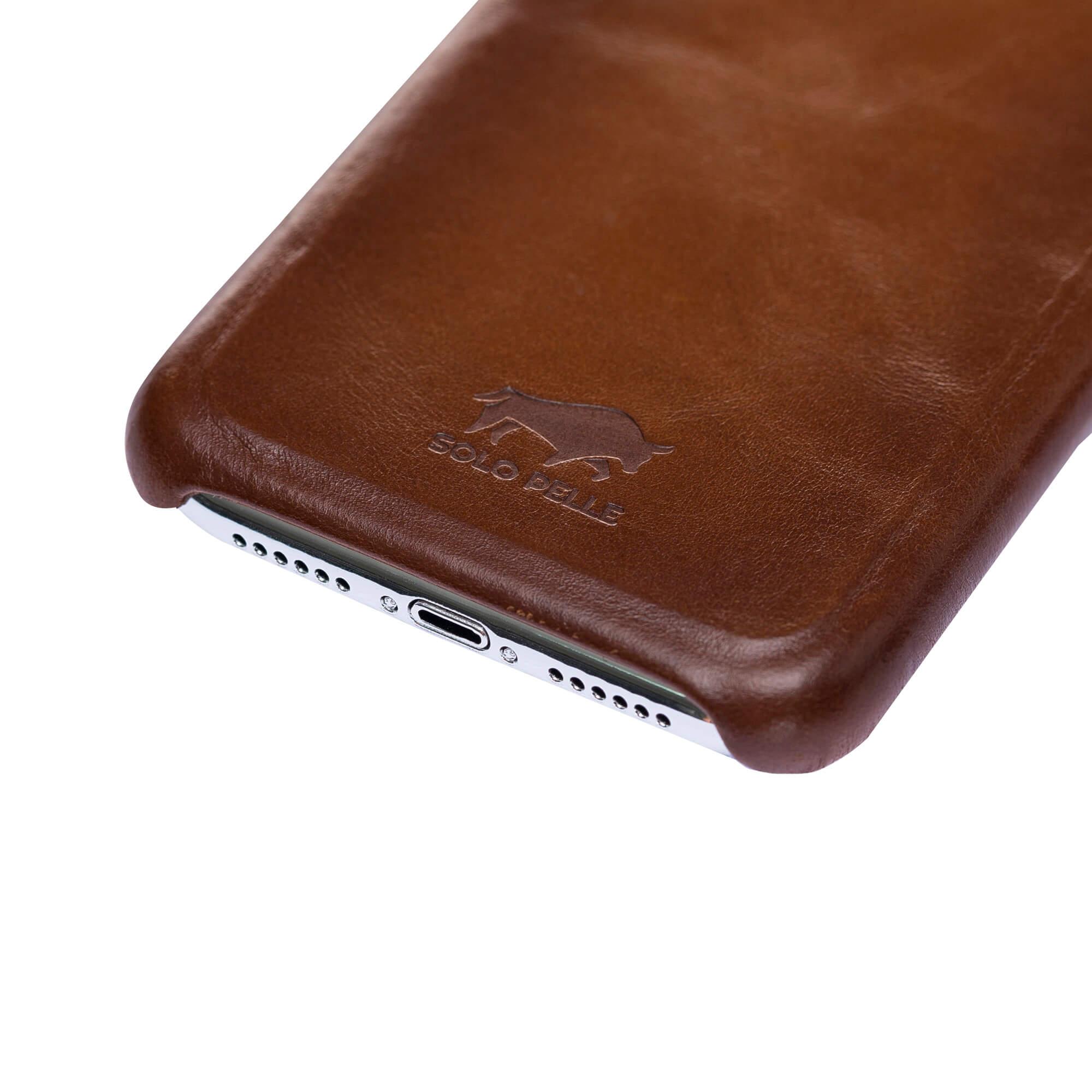 """iPhone XR Lederhülle - """"Princeton"""" - in Cognac Braun Burned"""