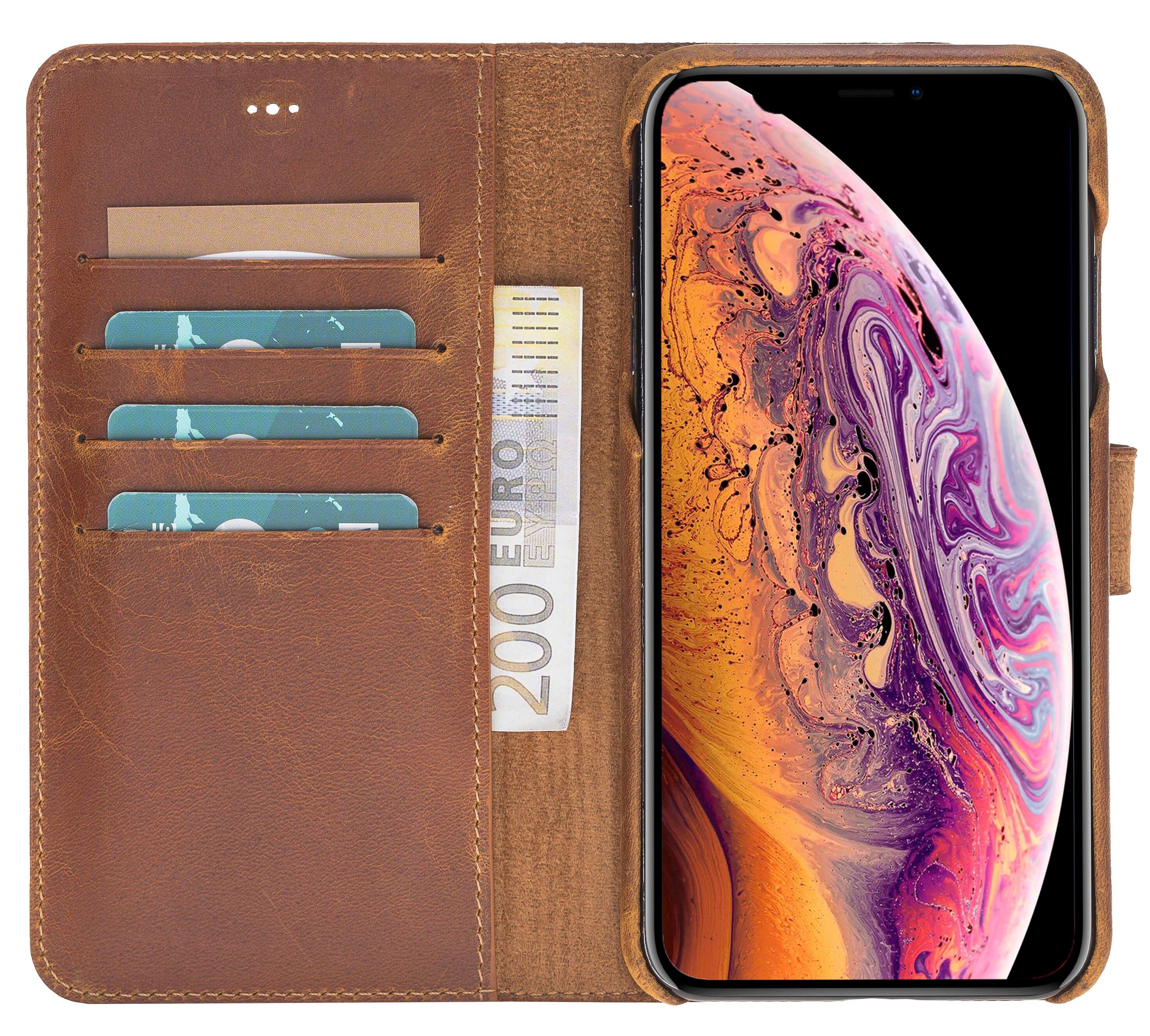 "iPhone XS Max Abnehmbare Lederhülle ""Clemson"" in Camelbraun"