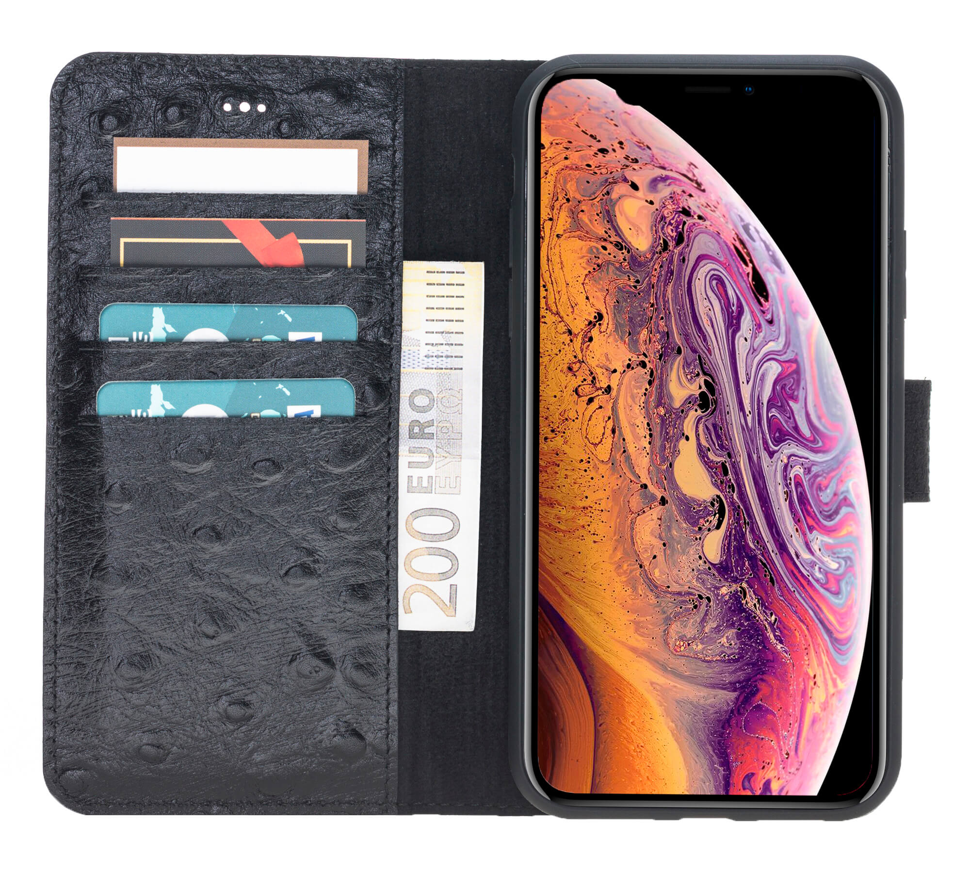 "iPhone XR 6.1 Zoll Abnehmbare Lederhülle ""Harvard"" in Straussprägung Schwarz"