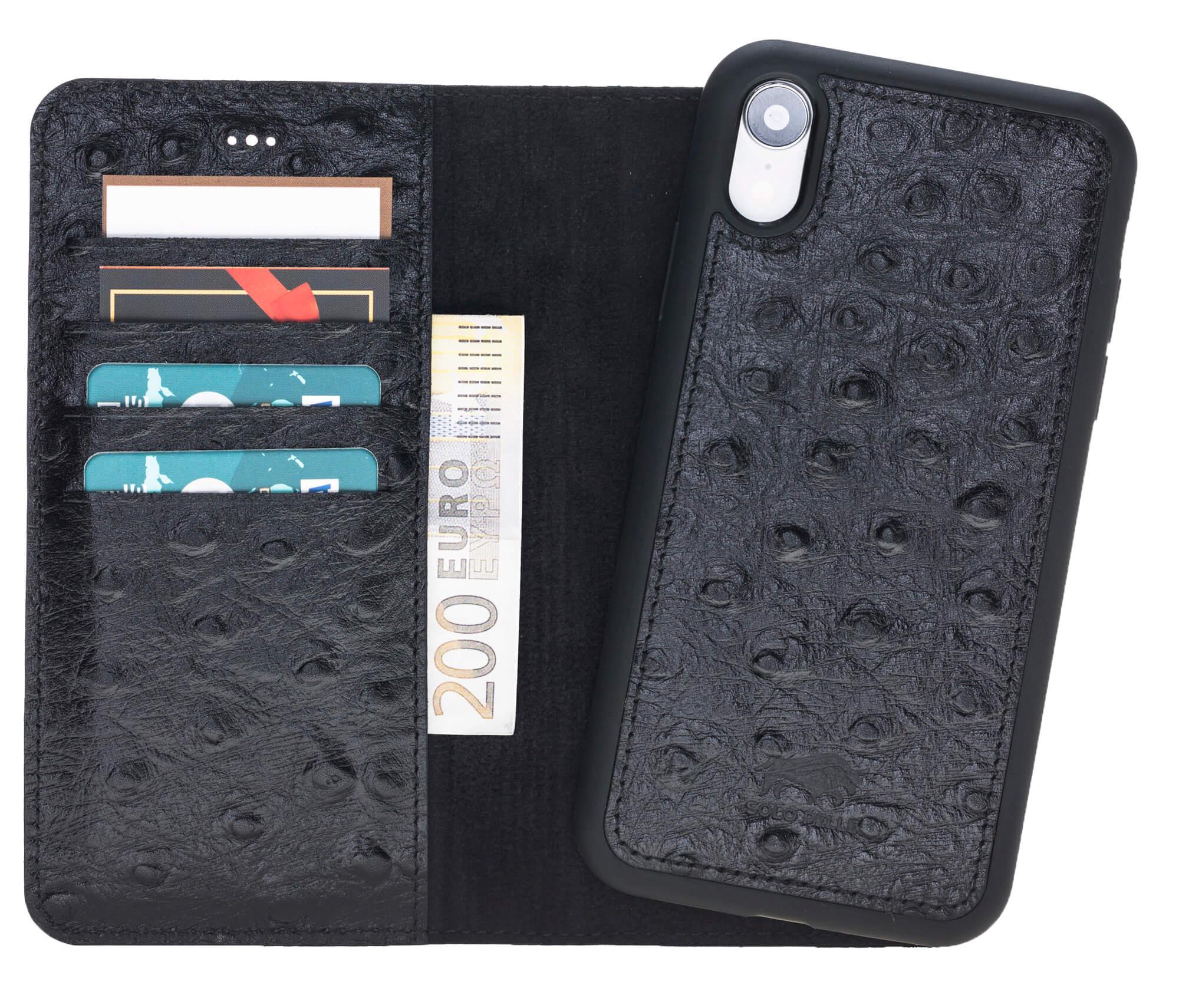 iPhone XR 6.1 Zoll Abnehmbare Lederhülle (2in1) in Straussprägung Schwarz