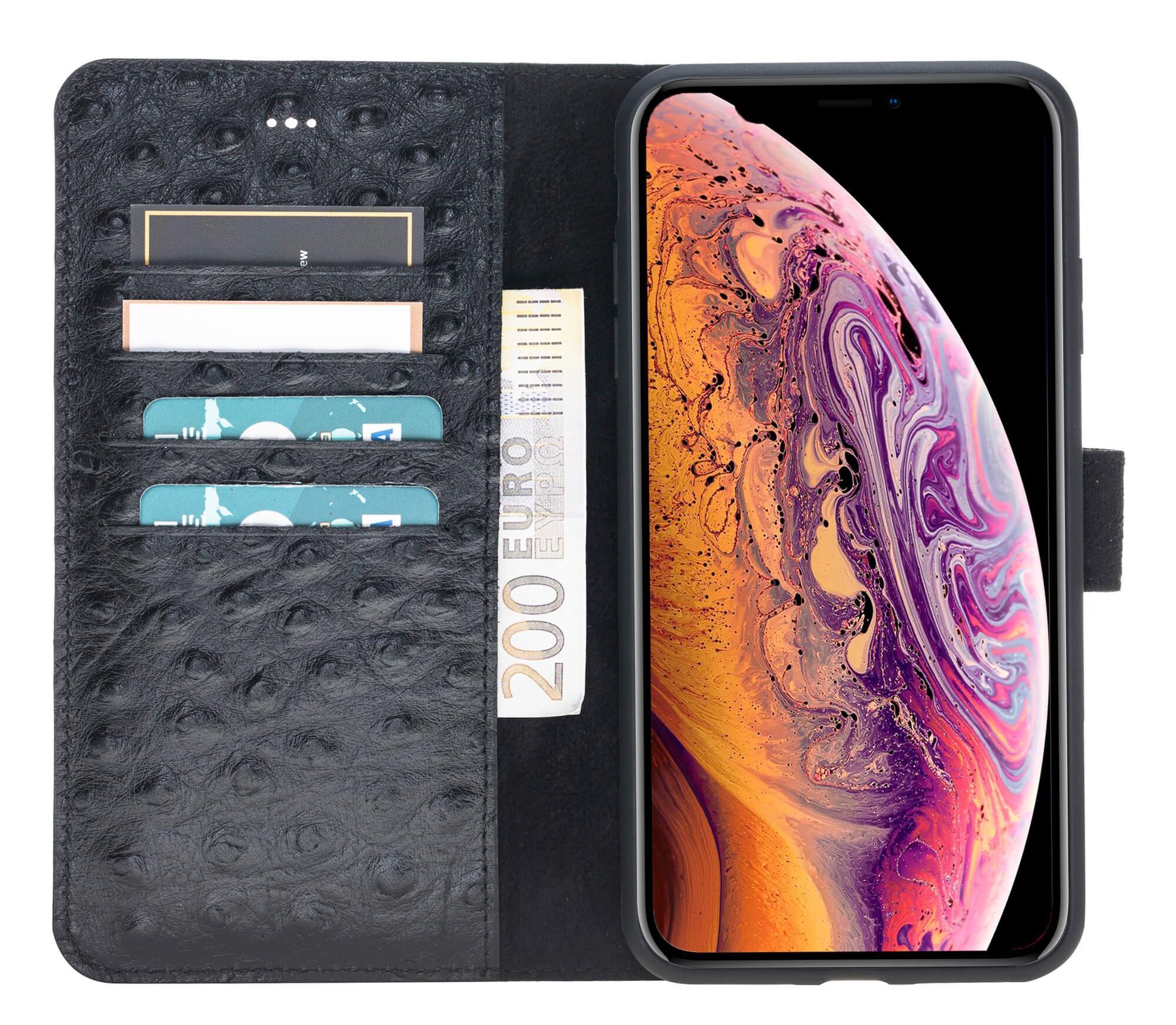 "iPhone XS Max Abnehmbare Lederhülle ""Harvard"" in Straussprägung Schwarz"