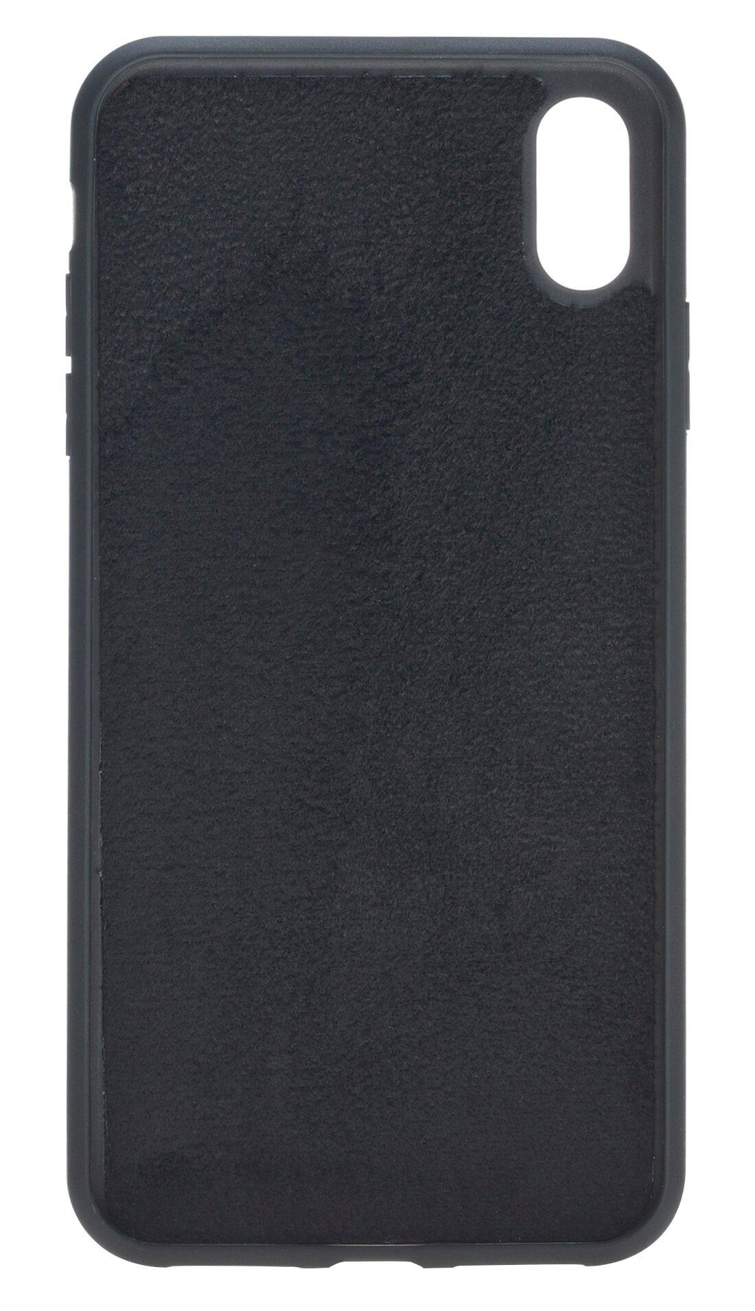 iPhone XS Max Abnehmbare Lederhülle (2in1) in Straussprägung Schwarz