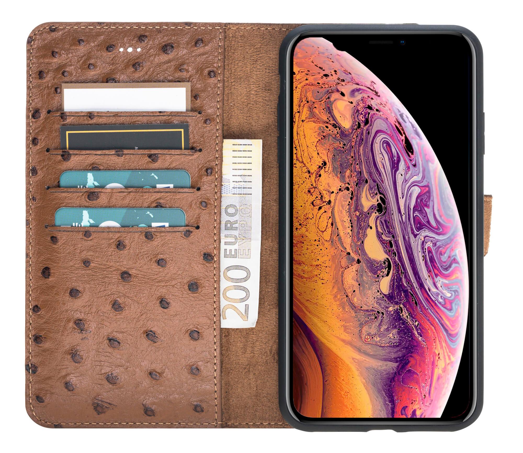 "iPhone XS Max Abnehmbare Lederhülle ""Harvard"" in Straussprägung Braun"
