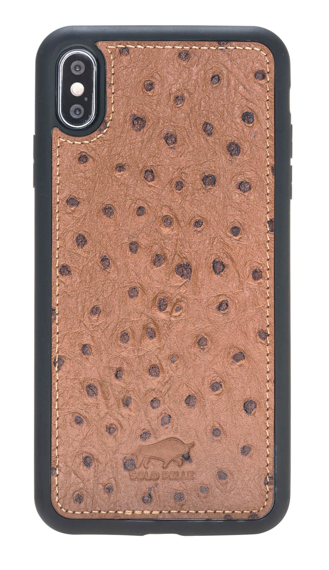 iPhone XS Max Abnehmbare Lederhülle (2in1) in Straussprägung Braun