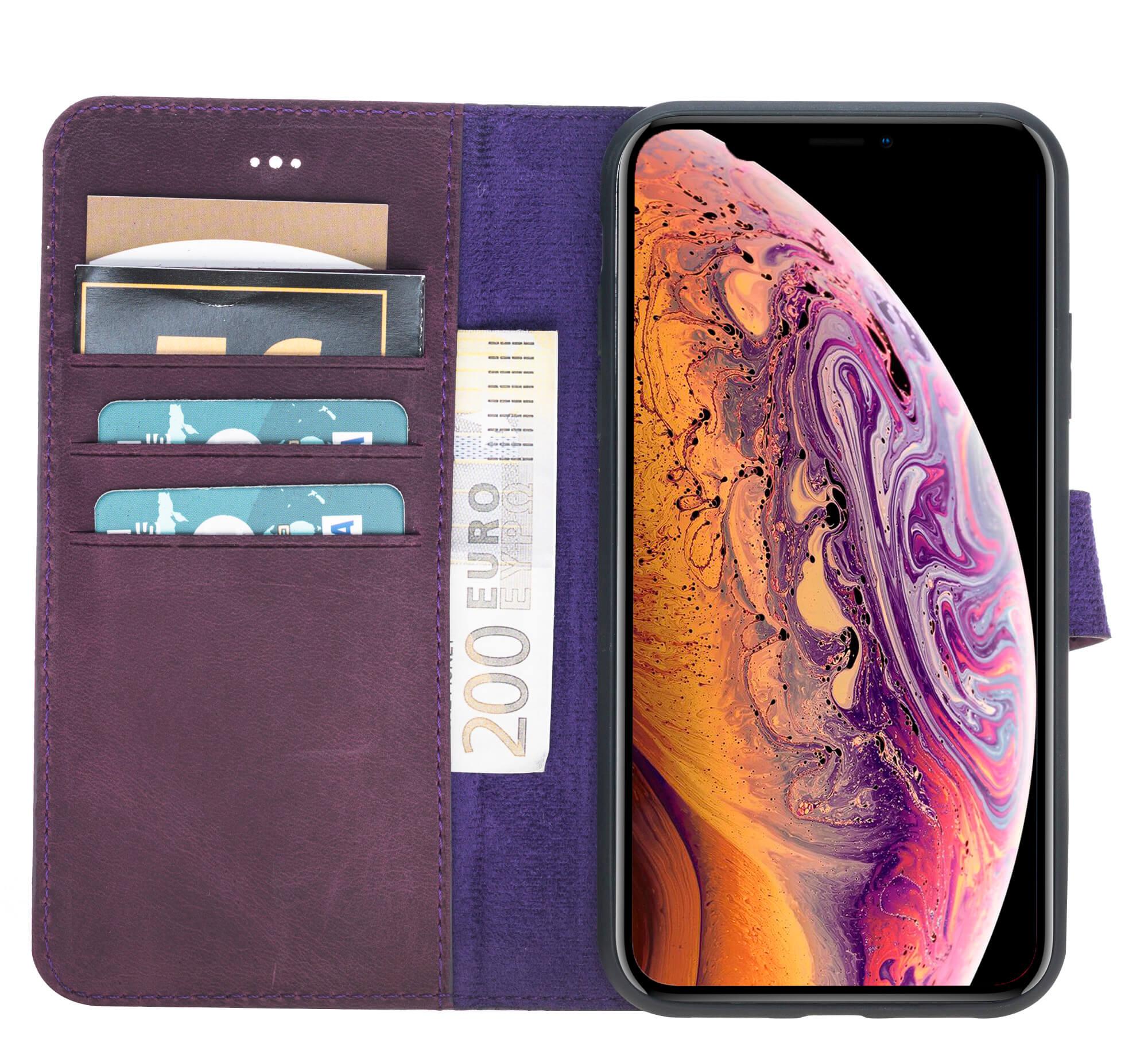 "iPhone XR 6.1 Zoll Abnehmbare Lederhülle ""Clemson"" in Vintage Lila"