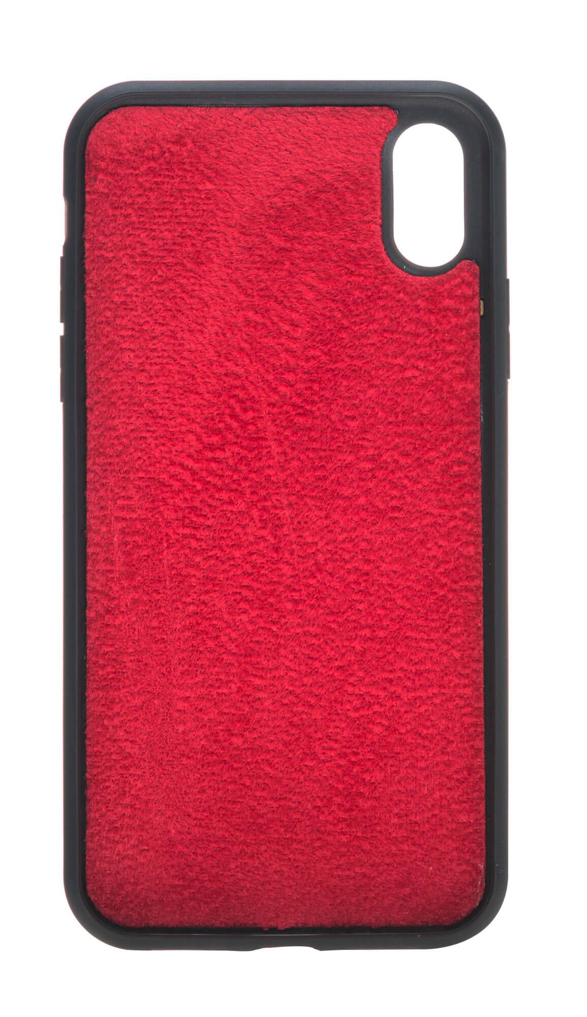 iPhone XR 6.1 Zoll Abnehmbare Lederhülle (2in1) in Rot Burned