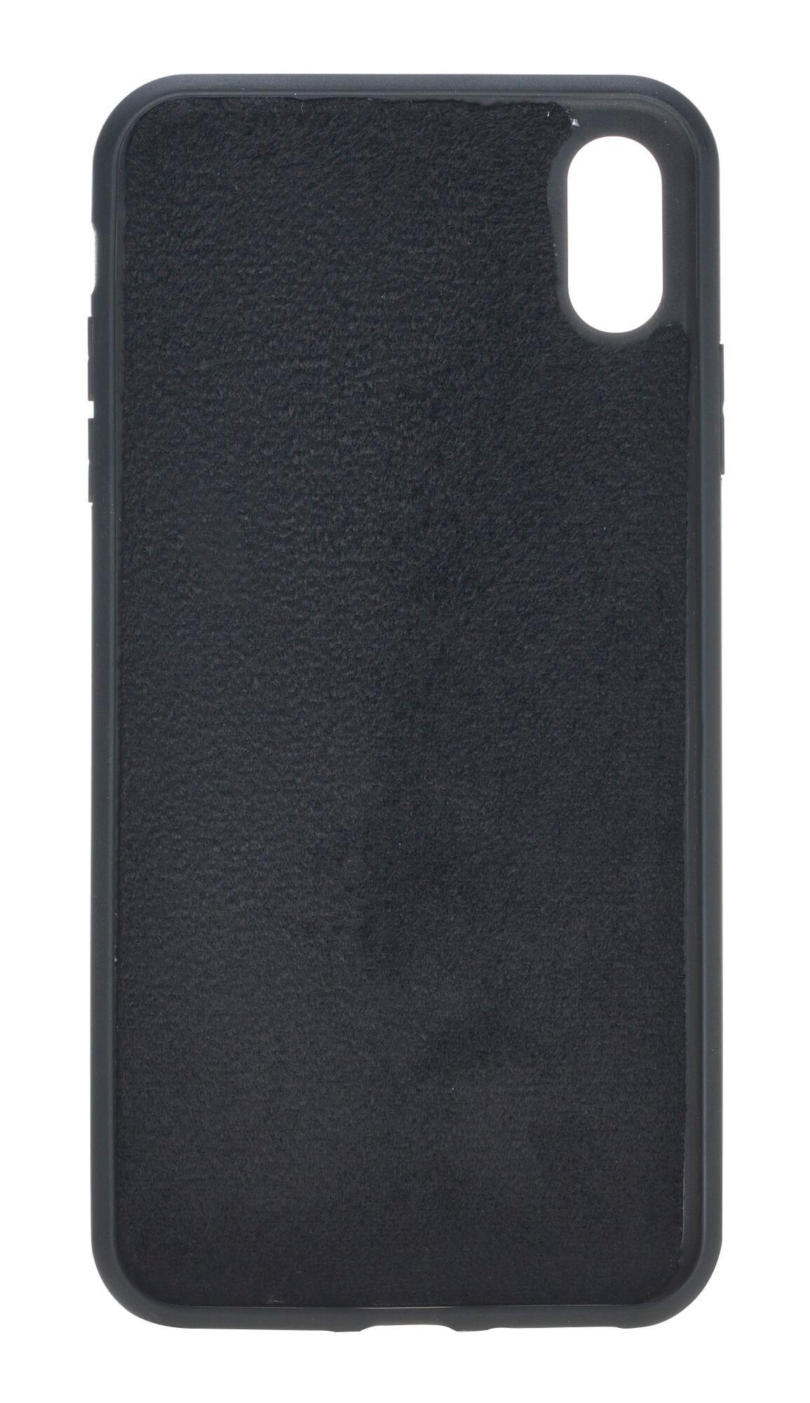 """iPhone XS Max Abnehmbare Lederhülle """"Harvard"""" in Krokoprägung Schwarz"""