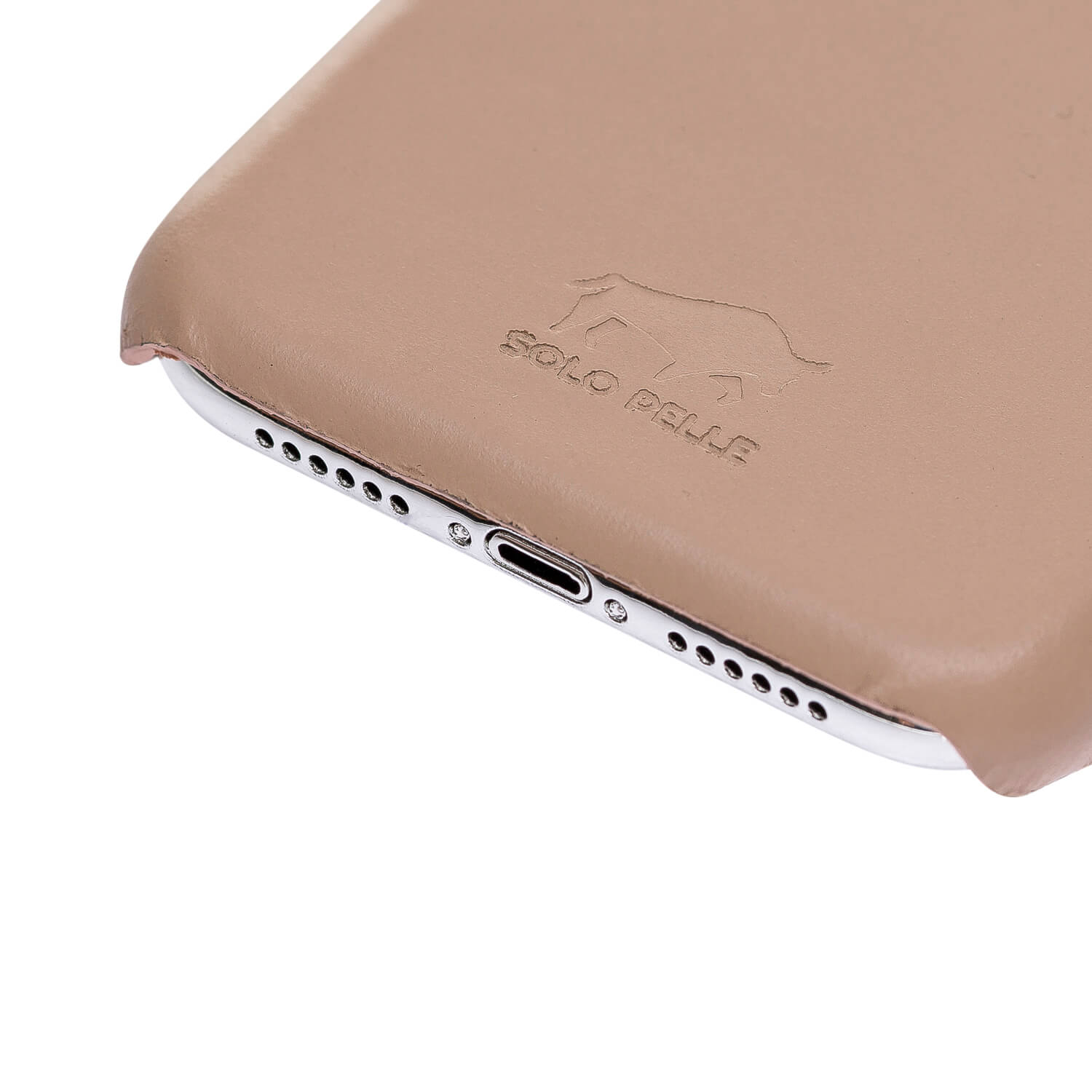Solo Pelle iPhone XR Lederhülle Ledertasche Backcover Ultra Slim (Nude)