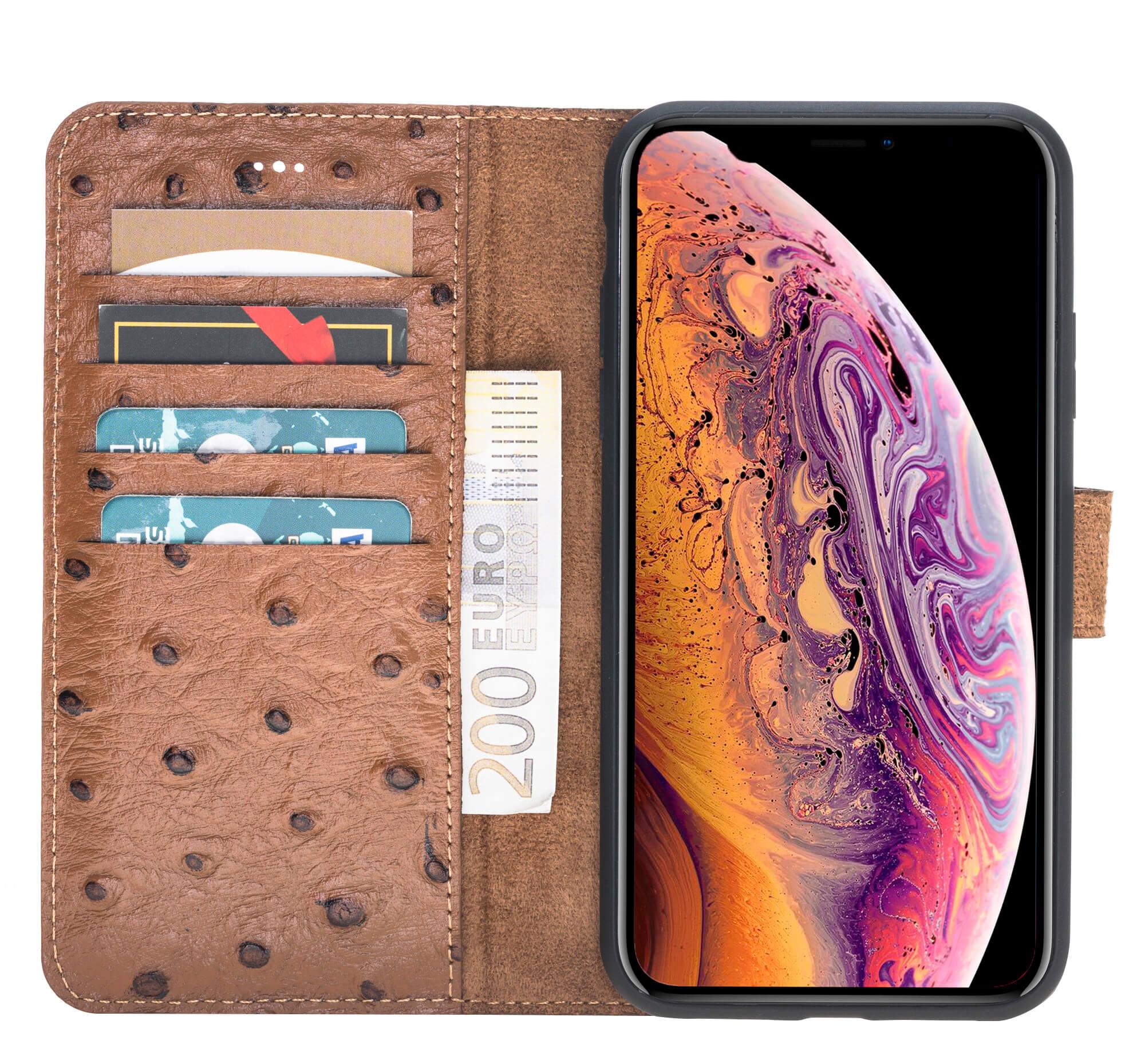 iPhone Xr Abnehmbare Lederhülle (2in1) in Straussprägung Braun