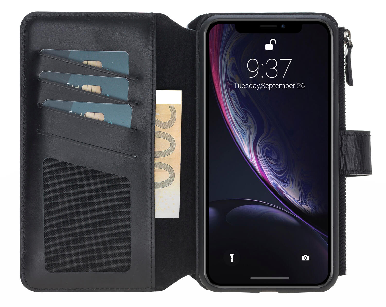 iPhone XS Max abnehmbare Lederhülle mit Geldbörse inkl. 12 Kartenfächer in Schwarz