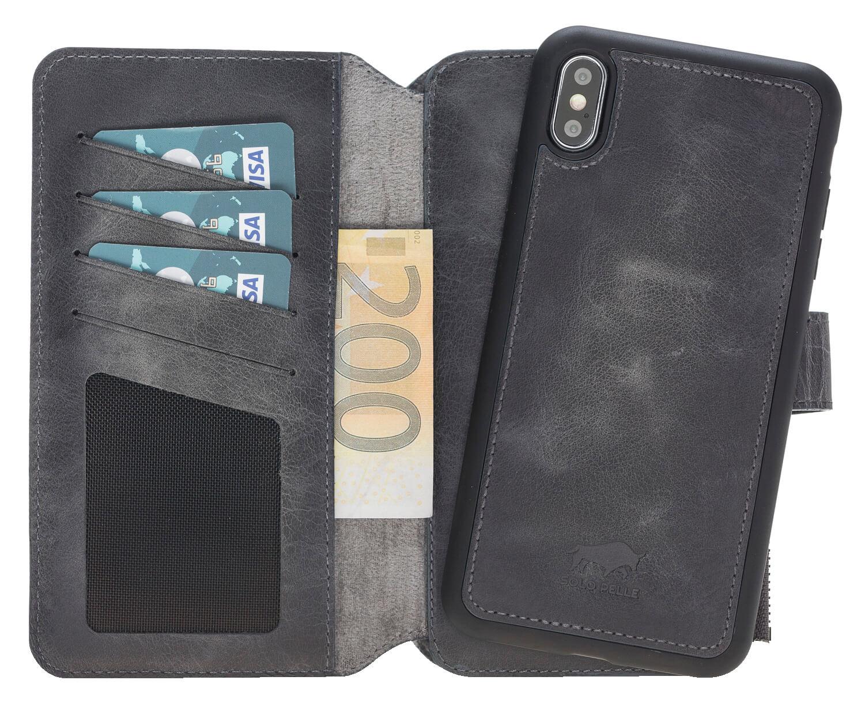 iPhone XS Max abnehmbare Lederhülle mit Geldbörse inkl. 12 Kartenfächer in Steingrau