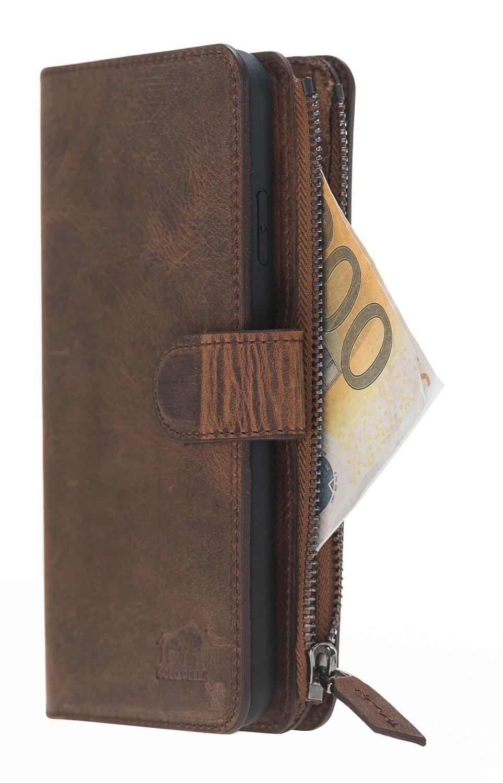 iPhone XS Max abnehmbare Lederhülle mit Geldbörse inkl. 12 Kartenfächer in Vintage Braun