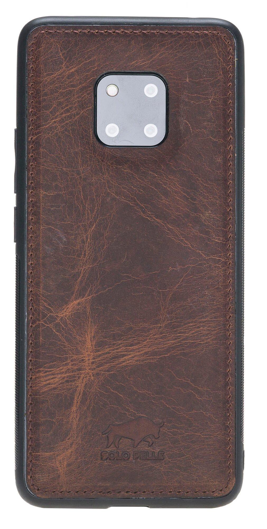 Lederhülle für das Huawei Mate 20 Pro aus echtem Leder in Vintage Braun