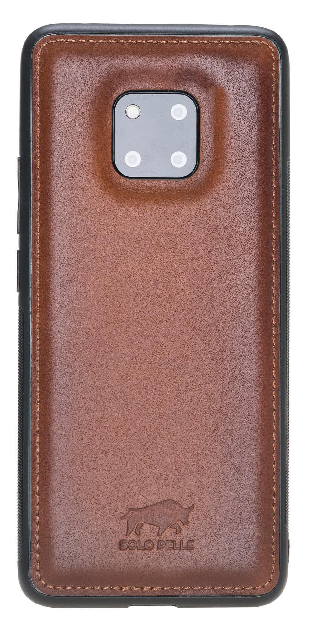 Lederhülle für das Huawei Mate 20 Pro aus echtem Leder in Cognac Braun Burned
