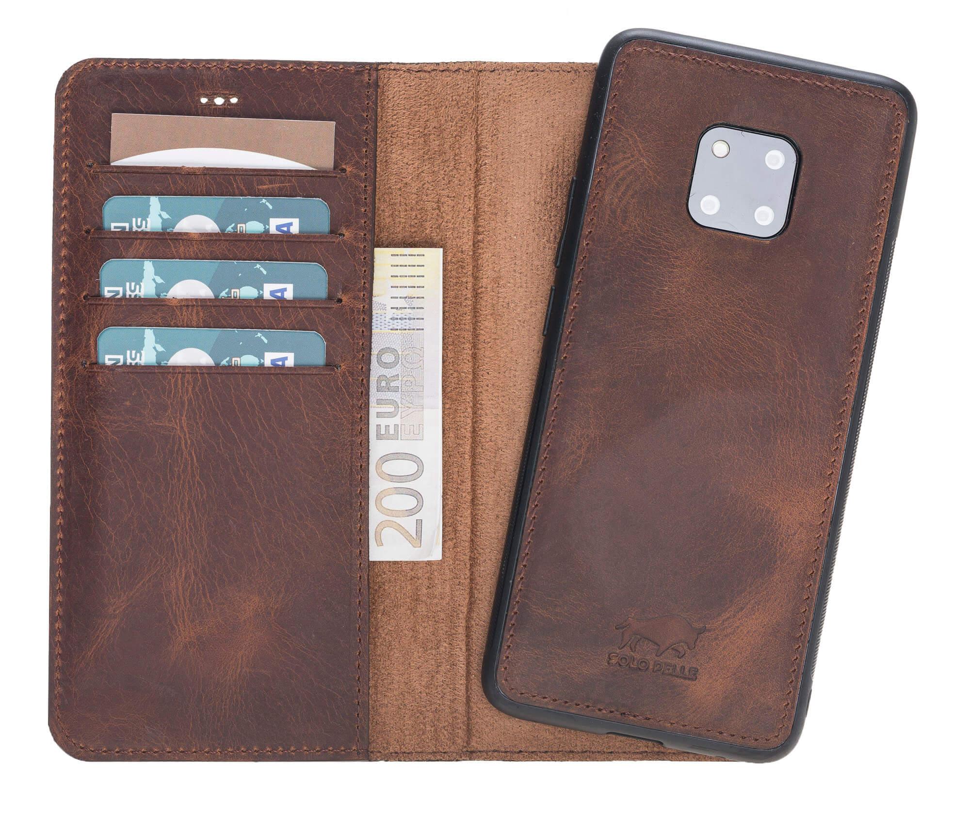 Lederhülle abnehmbar (2in1) für das Huawei Mate 20 Pro in Vintage Braun Leder Hülle Tasche Lederhülle Ledertasche