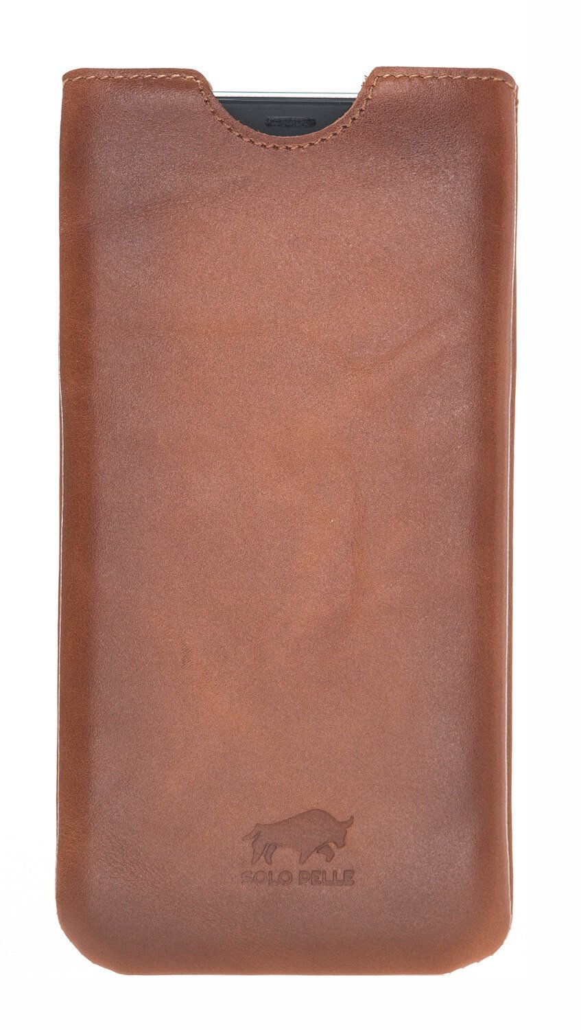"iPhone XS Max ""Bella"" Ledertasche aus Softleder in Cognac Braun Effekt"