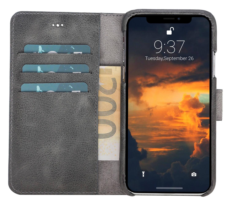 "iPhone X/XS abnehmbare Lederhülle ""Clemson"" inkl. Kartenfächer in Steingrau Burned"