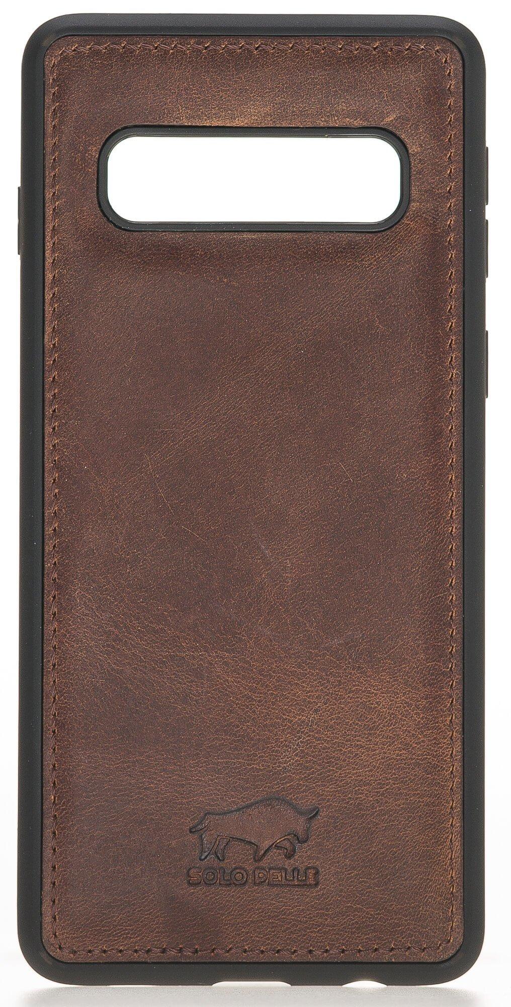 """Samsung S10+ """"Flex"""" Leder Hülle Tasche Lederhülle Ledertasche Backcover in Vintage Braun"""