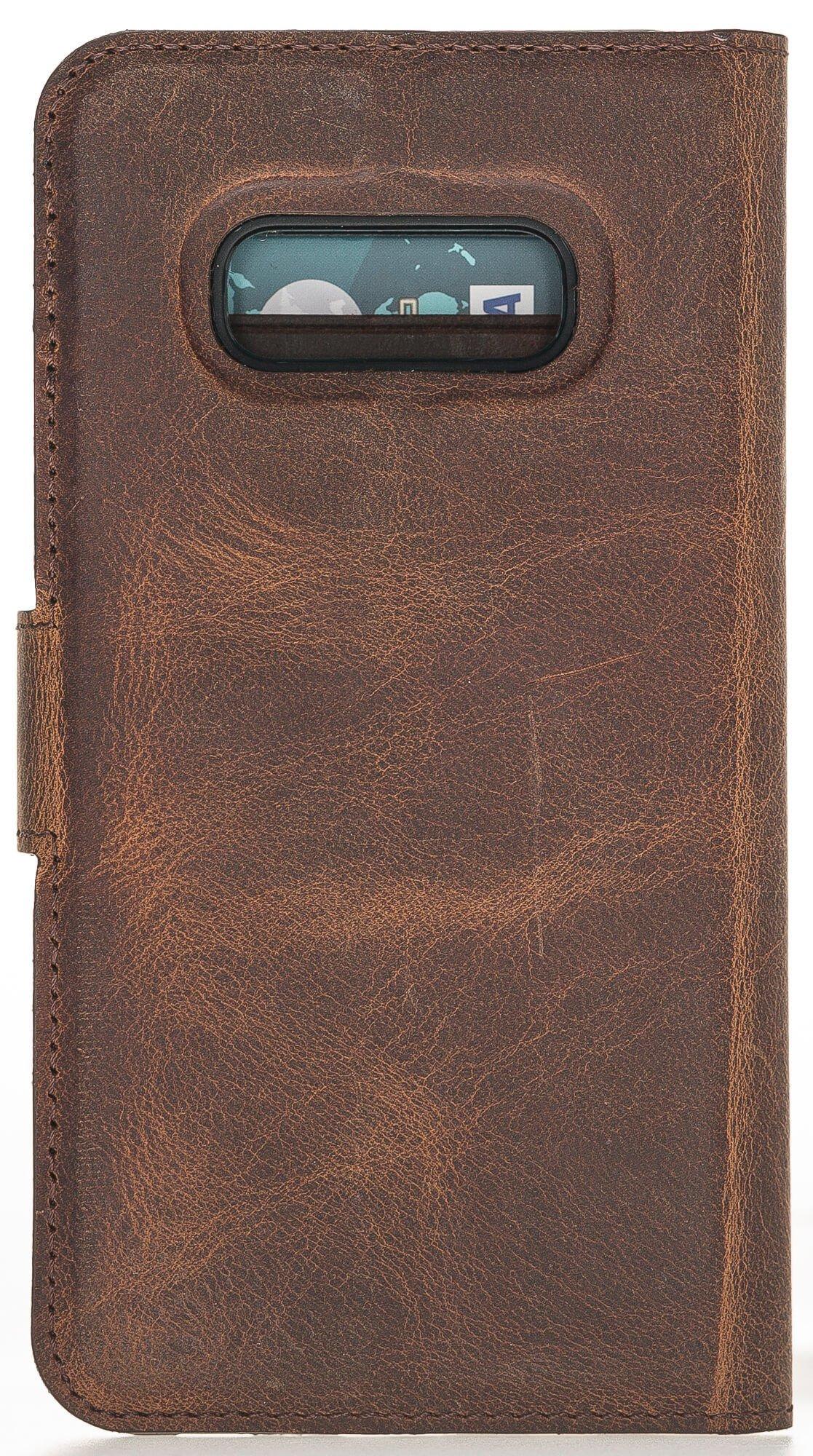 "Samsung S10e abnehmbare Lederhülle ""Harvard"" Leder Hülle Tasche Lederhülle Ledertasche  in Vintage Braun"