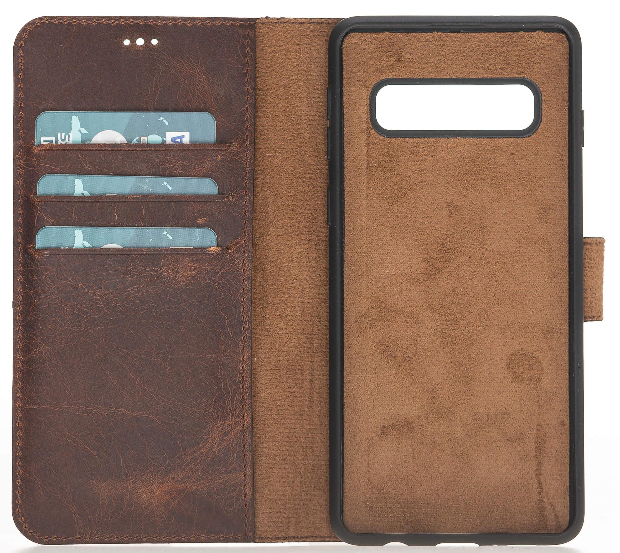 """Samsung S10 abnehmbare Lederhülle """"Harvard"""" in Vintage Braun Leder Hülle Tasche Lederhülle Ledertasche"""