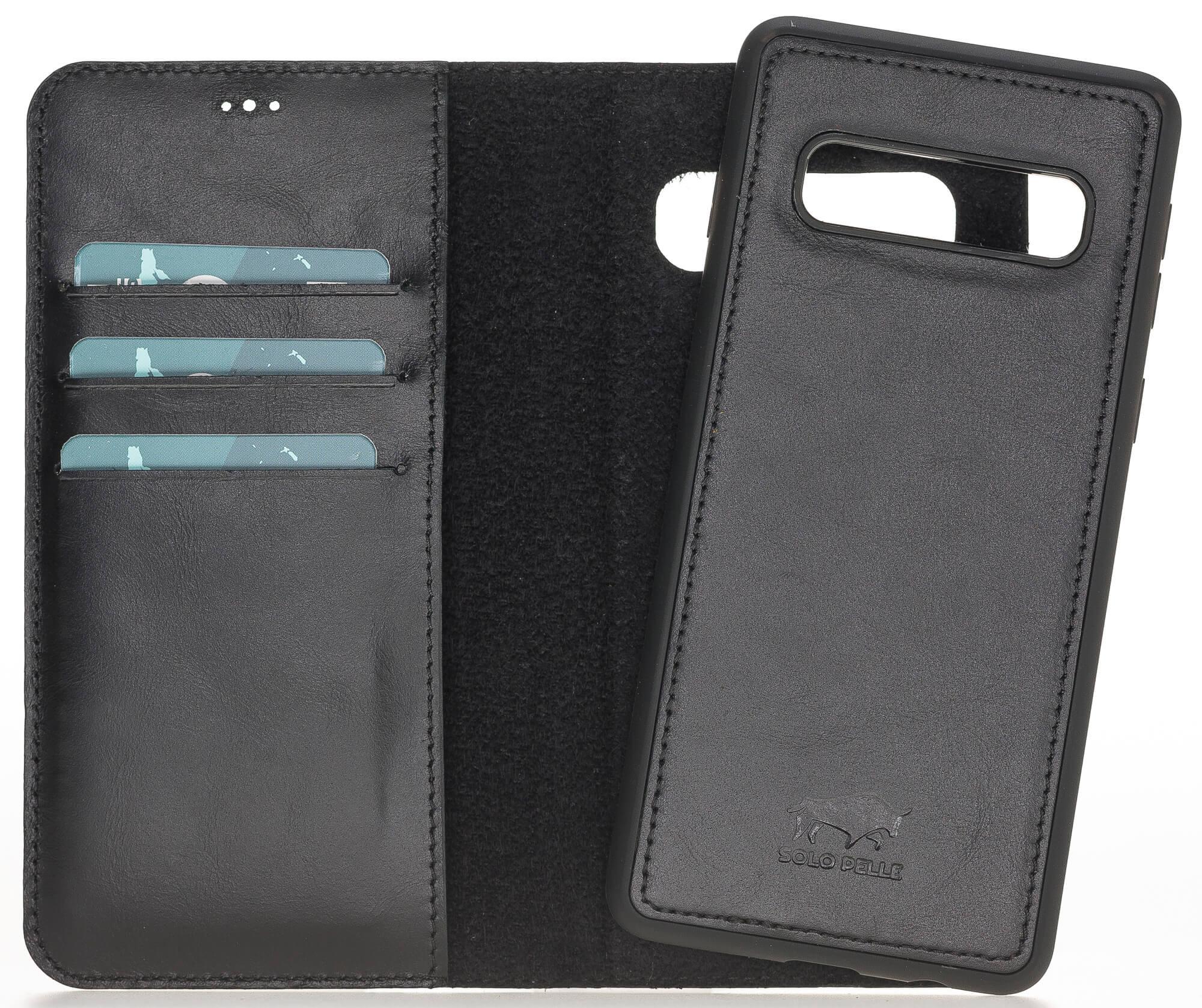 Samsung S10 abnehmbare Lederhülle (2in1) in Schwarz