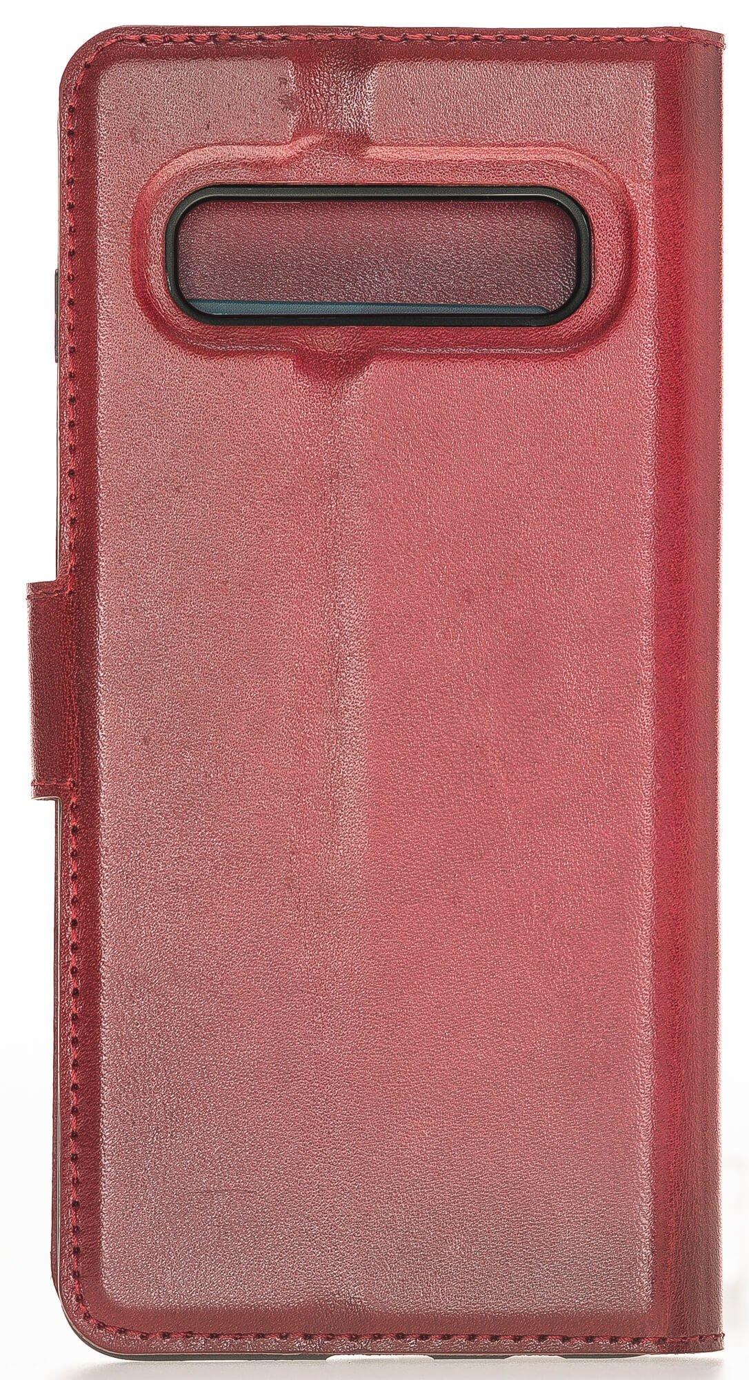 Samsung S10 abnehmbare Lederhülle (2in1) in Rot Burned