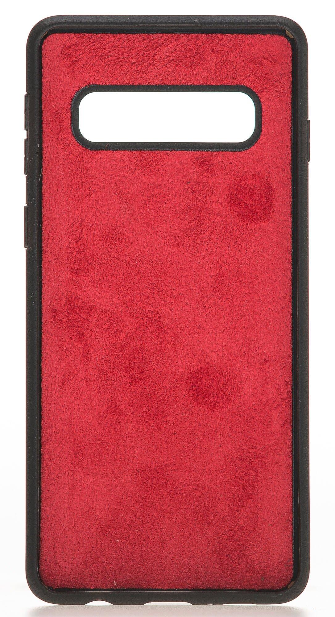 """Samsung S10 abnehmbare Lederhülle """"Harvard"""" in Rot Burned"""