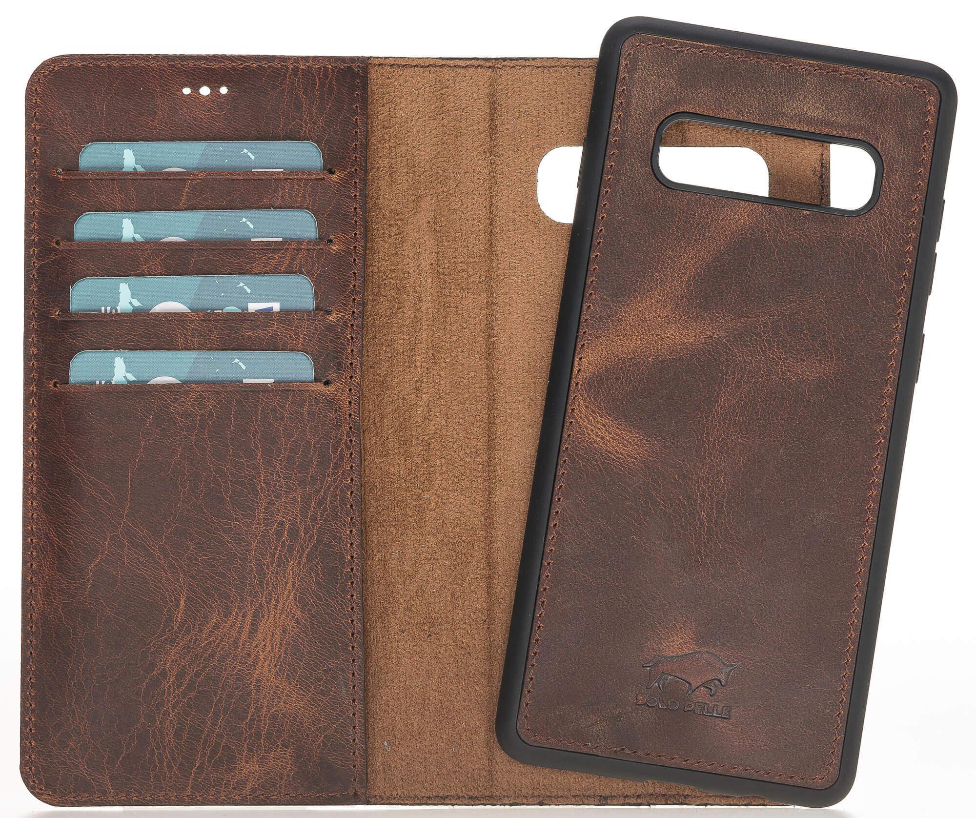 "Samsung S10+ abnehmbare Lederhülle ""Harvard"" Leder Hülle Tasche Lederhülle Ledertasche  in Vintage Braun"