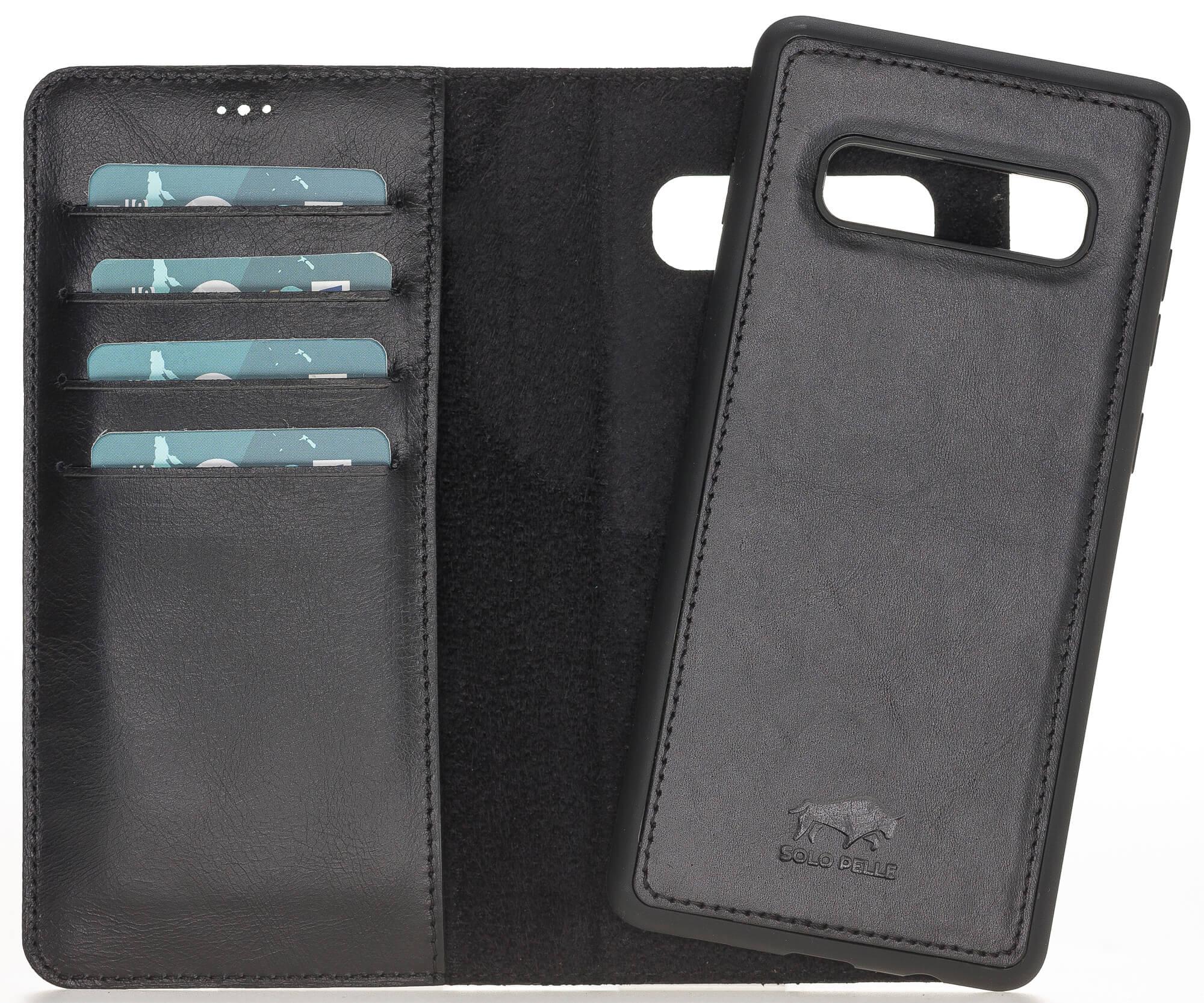 Samsung S10+ abnehmbare Lederhülle (2in1) in Schwarz