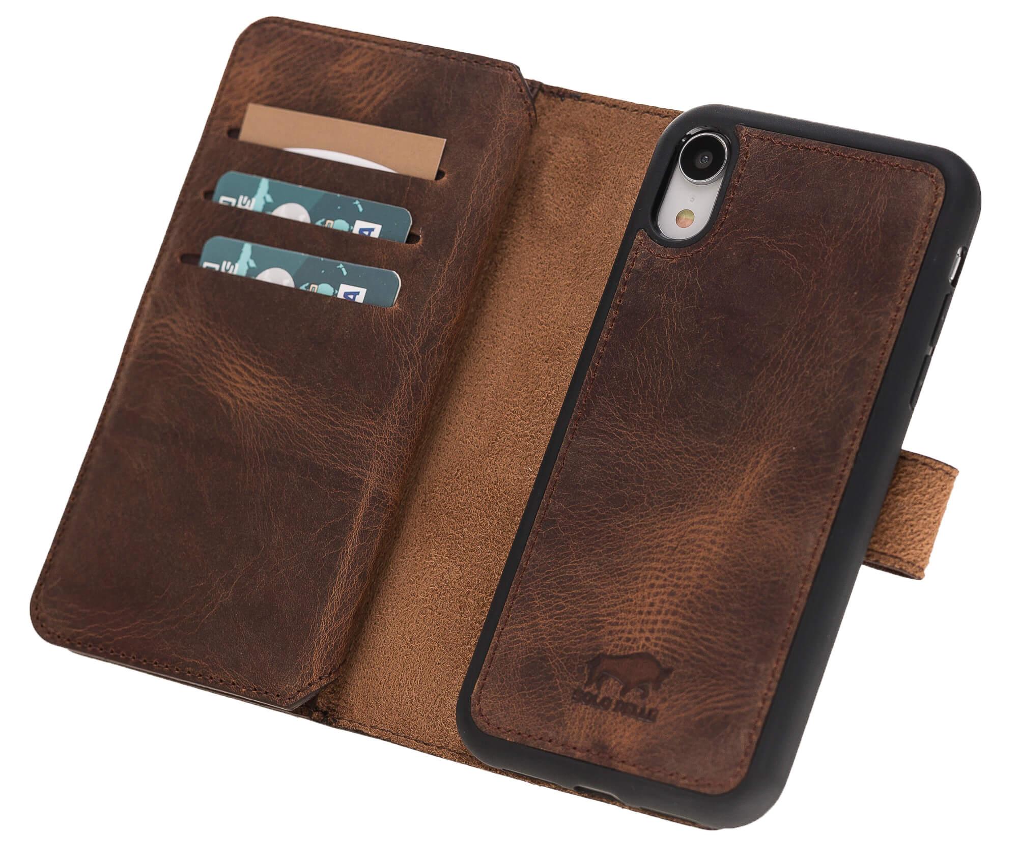 """iPhone Xr abnehmbare Lederhülle """"Darian"""" inkl. Kartenfächer in Vintage Braun inkl. Edler Geschenkverpackung Leder Hülle Tasche Lederhülle Ledertasche"""