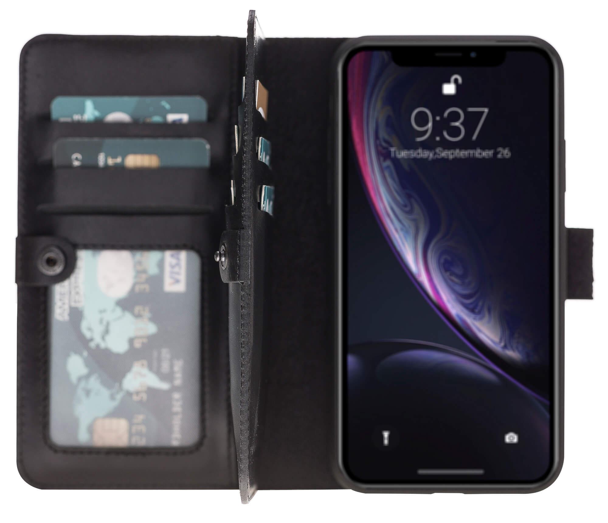 "iPhone Xr abnehmbare Lederhülle ""Darian"" inkl. Kartenfächer in Schwarz inkl. Edler Geschenkverpackung"