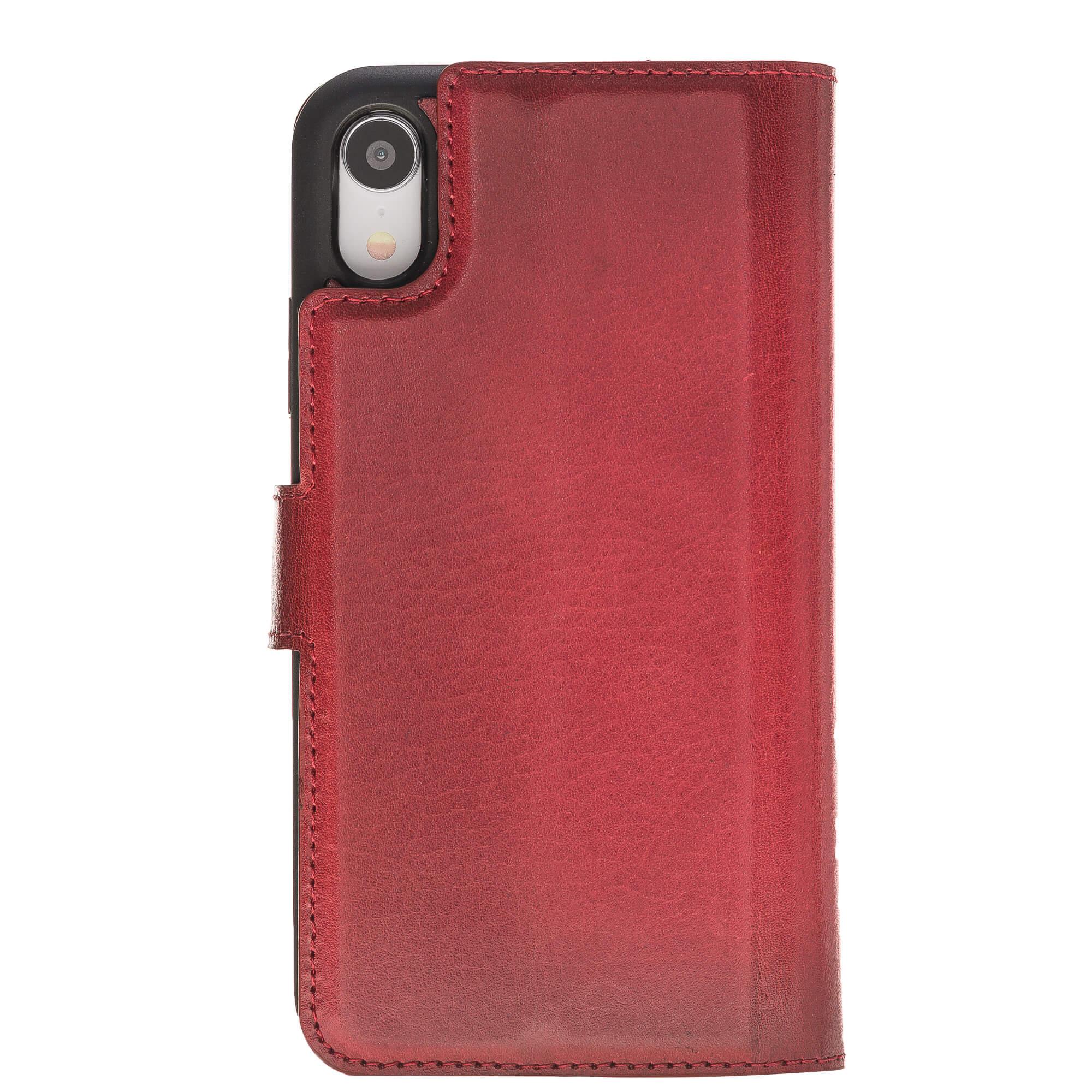 "iPhone Xr abnehmbare Lederhülle ""Darian"" inkl. Kartenfächer in Rot Burned inkl. Edler Geschenkverpackung"
