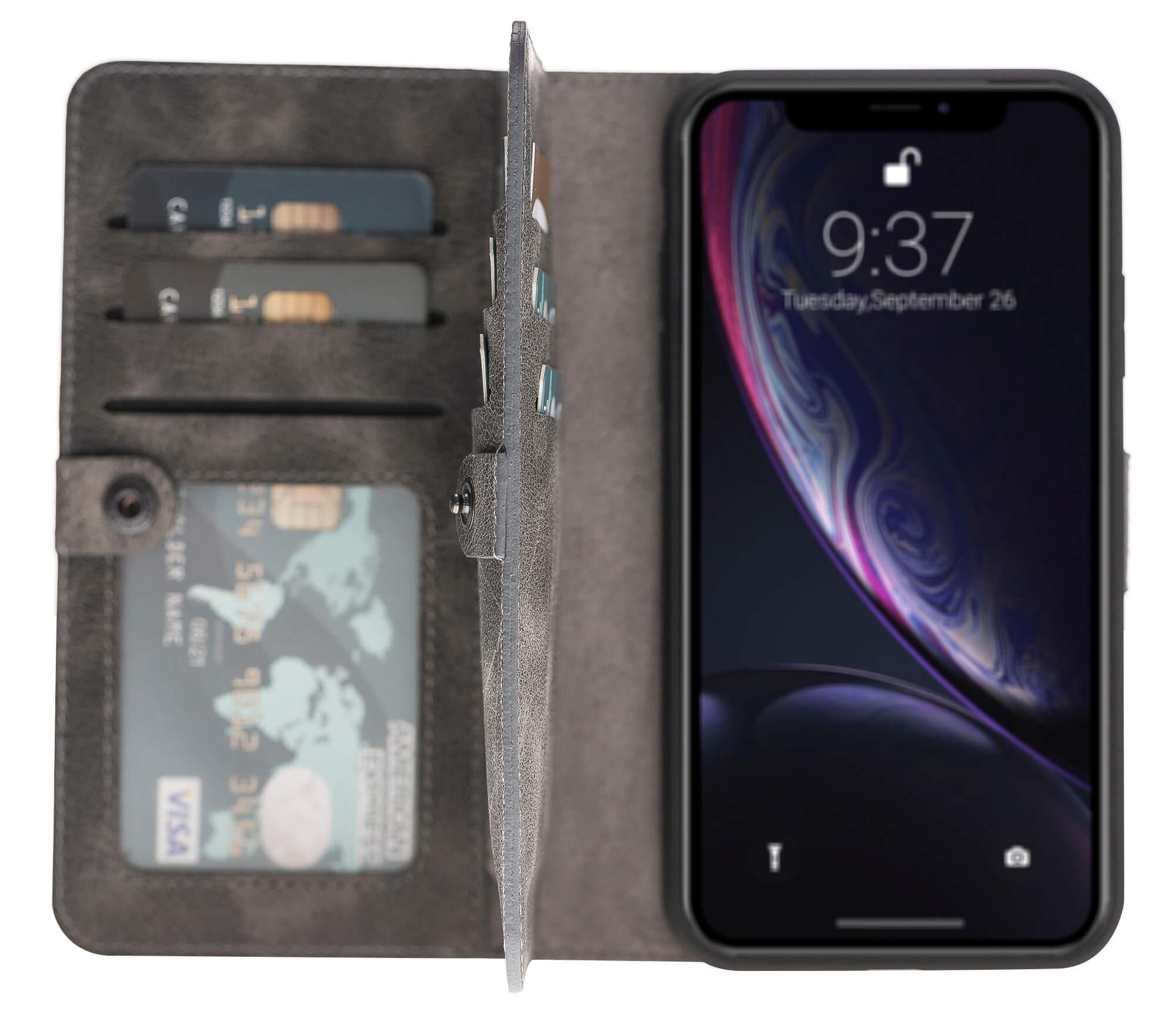 "iPhone Xr abnehmbare Lederhülle ""Darian"" inkl. Kartenfächer in Steingrau"