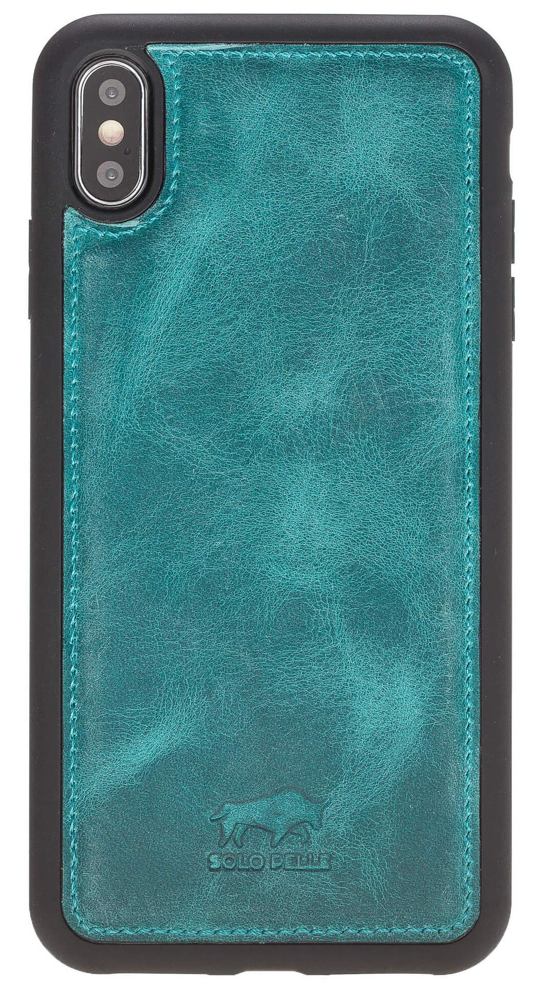 iPhone XS Max Case Stanford Ledertasche aus echtem Leder in Vintage Türkis