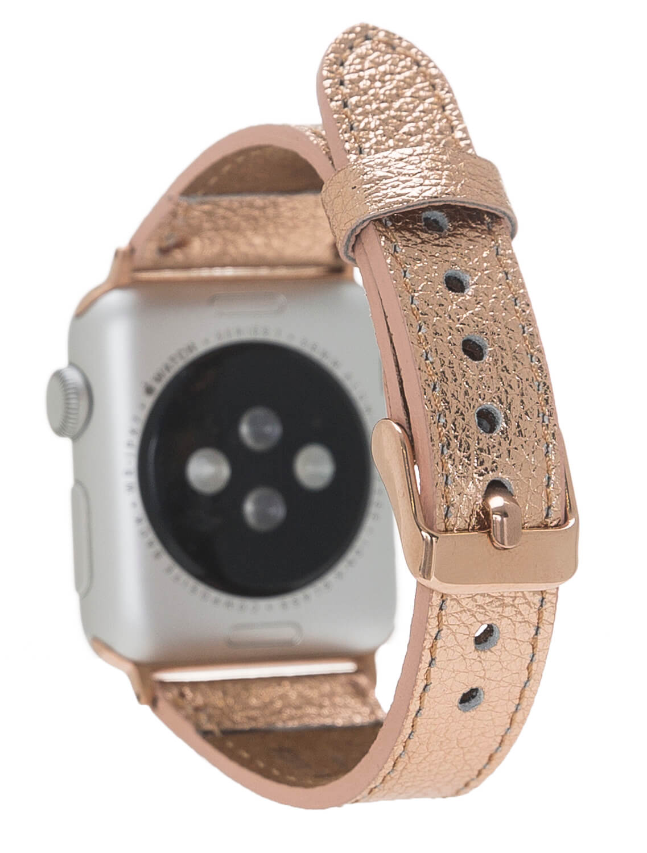Lederarmband Lady für das Apple Watch Series 1-6 + SE in 38/40mm Rosegold + Rose Connector