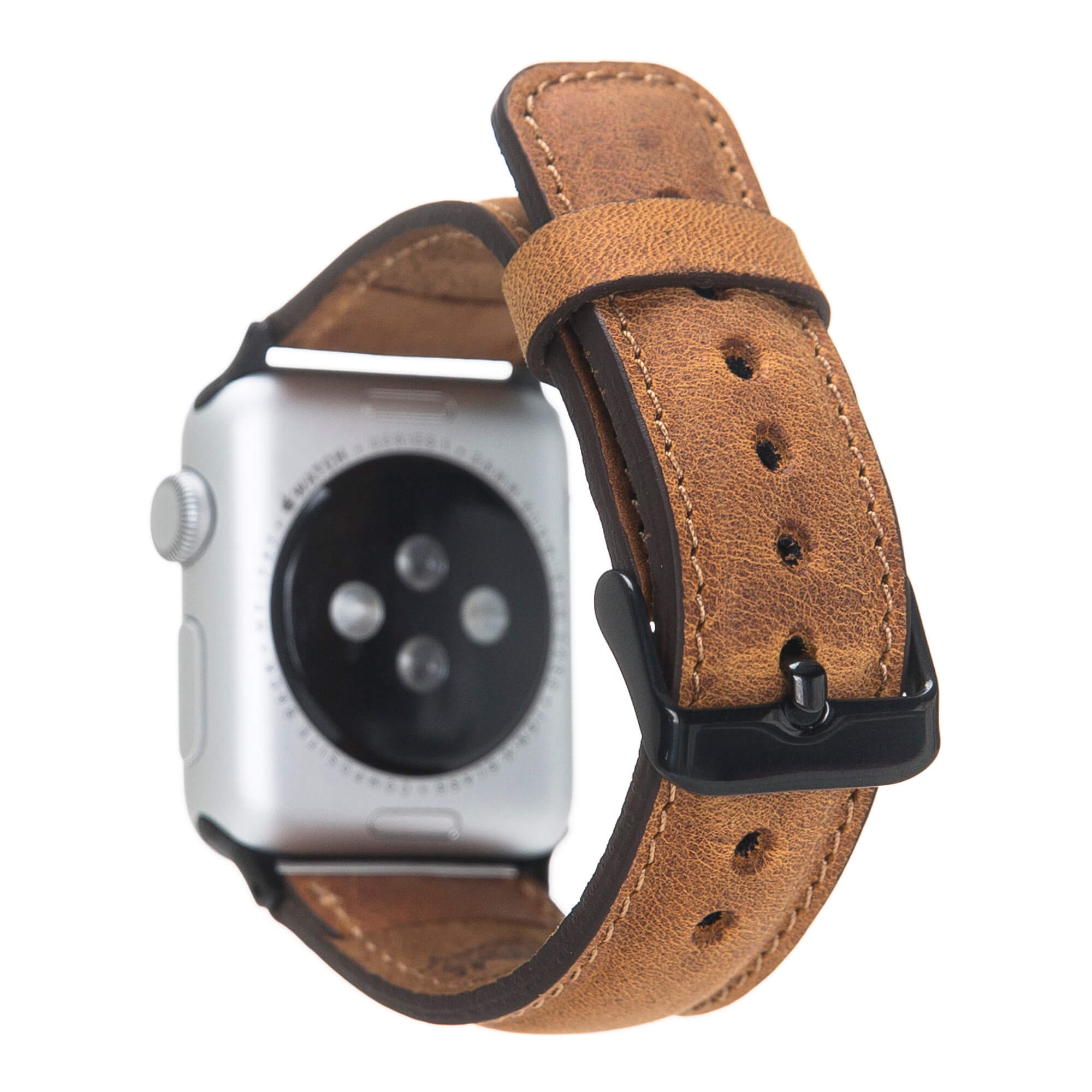 Lederarmband für das Apple Watch Series 1-6 + SE I Camel Braun 42mm/44mm mit Space Grau Connectoren