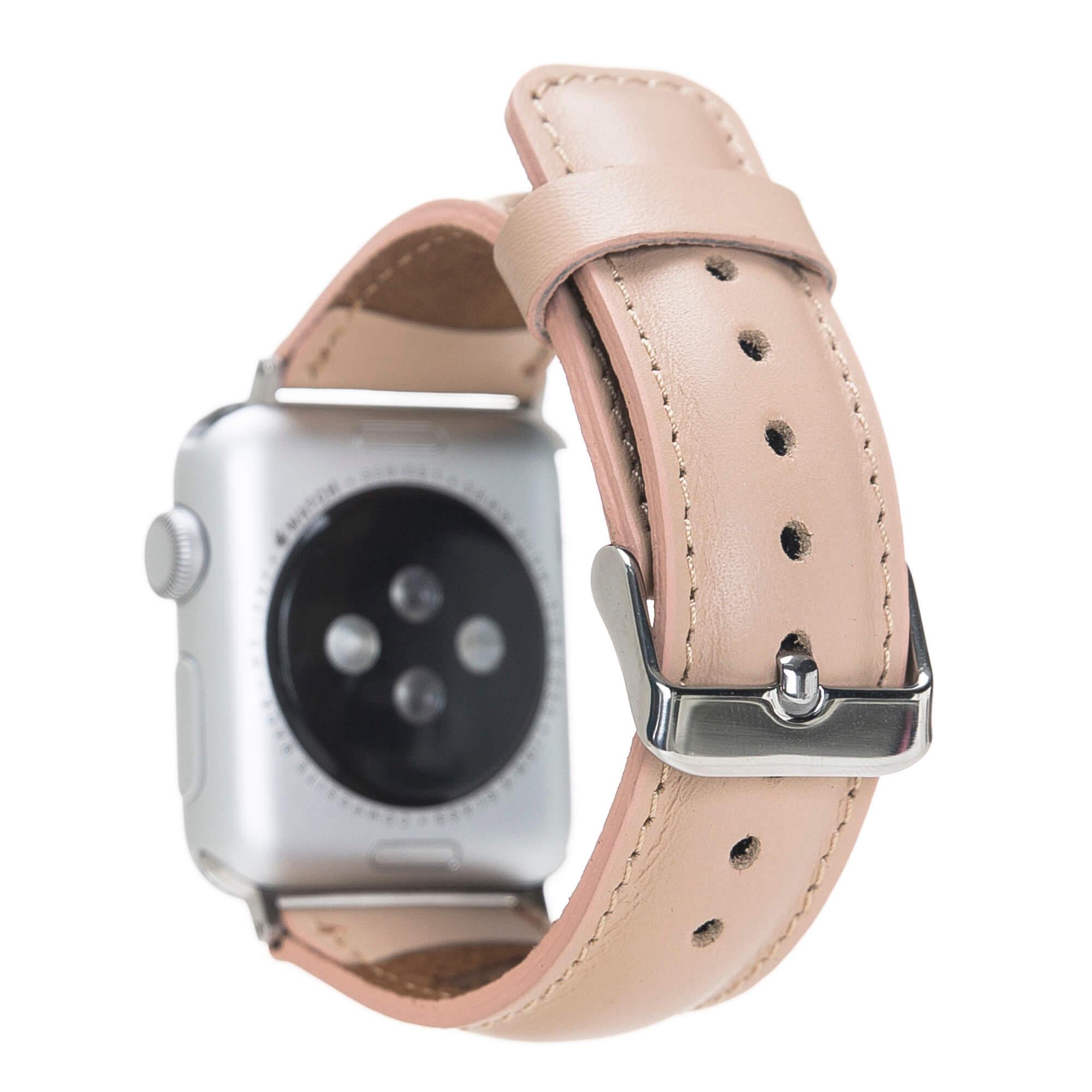 Lederarmband für das Apple Watch Series 1-4 I Nude Rosa 38mm/40mm mit silbernen Connectoren