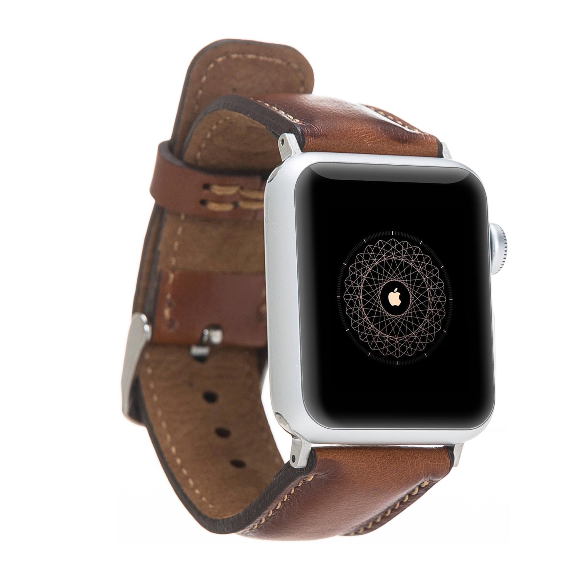 Lederarmband für das Apple Watch Series 1-4 I Cognac Braun Burned 38mm/40mm mit silbernen Connectoren