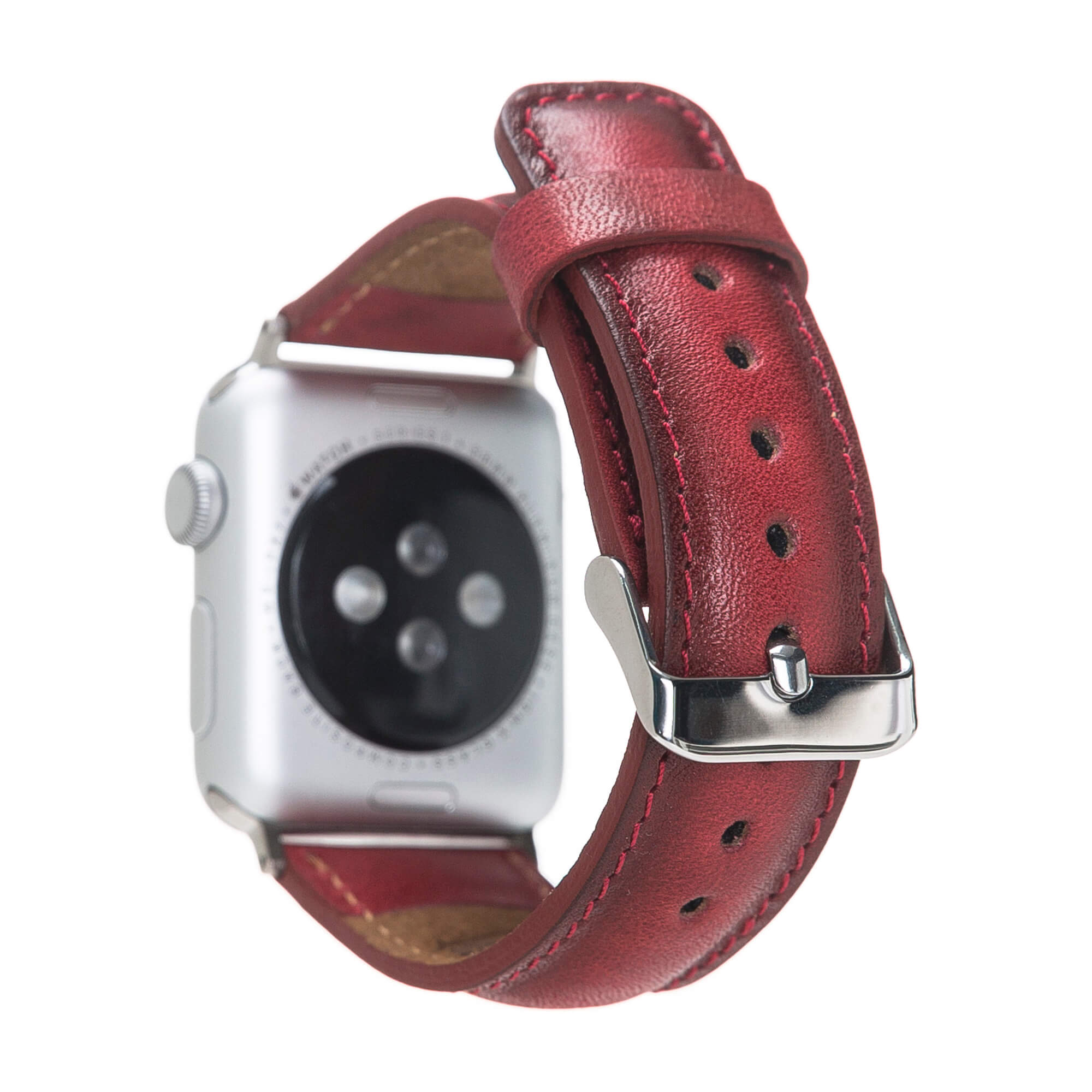 Solo Pelle Lederarmband für das Apple Watch Series 1-6 + SE I Rot Burned 42mm/44mm mit silbernen Connectoren