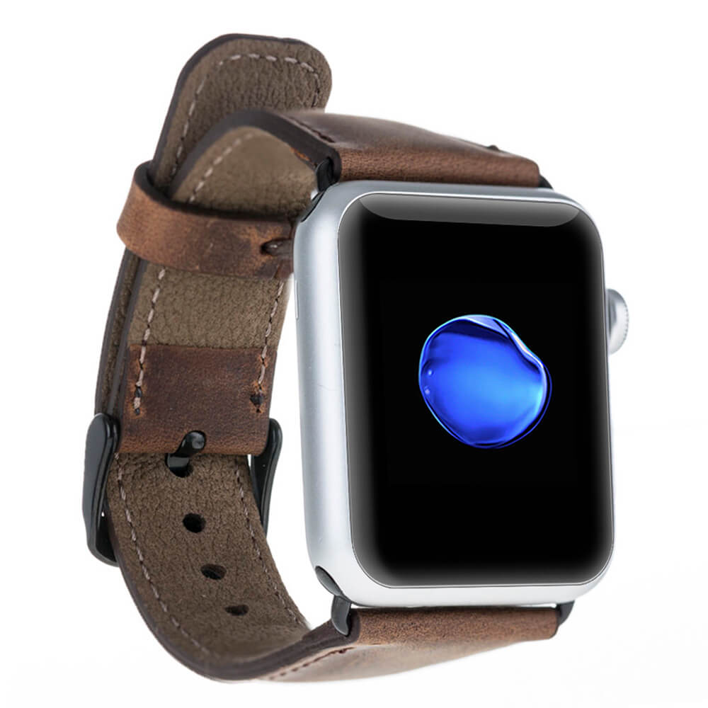 Armband aus echtem Leder für die Apple Watch Series 1-6 + SE Leder Lederarmband in 42mm/44mm mit Space Grau Connectoren