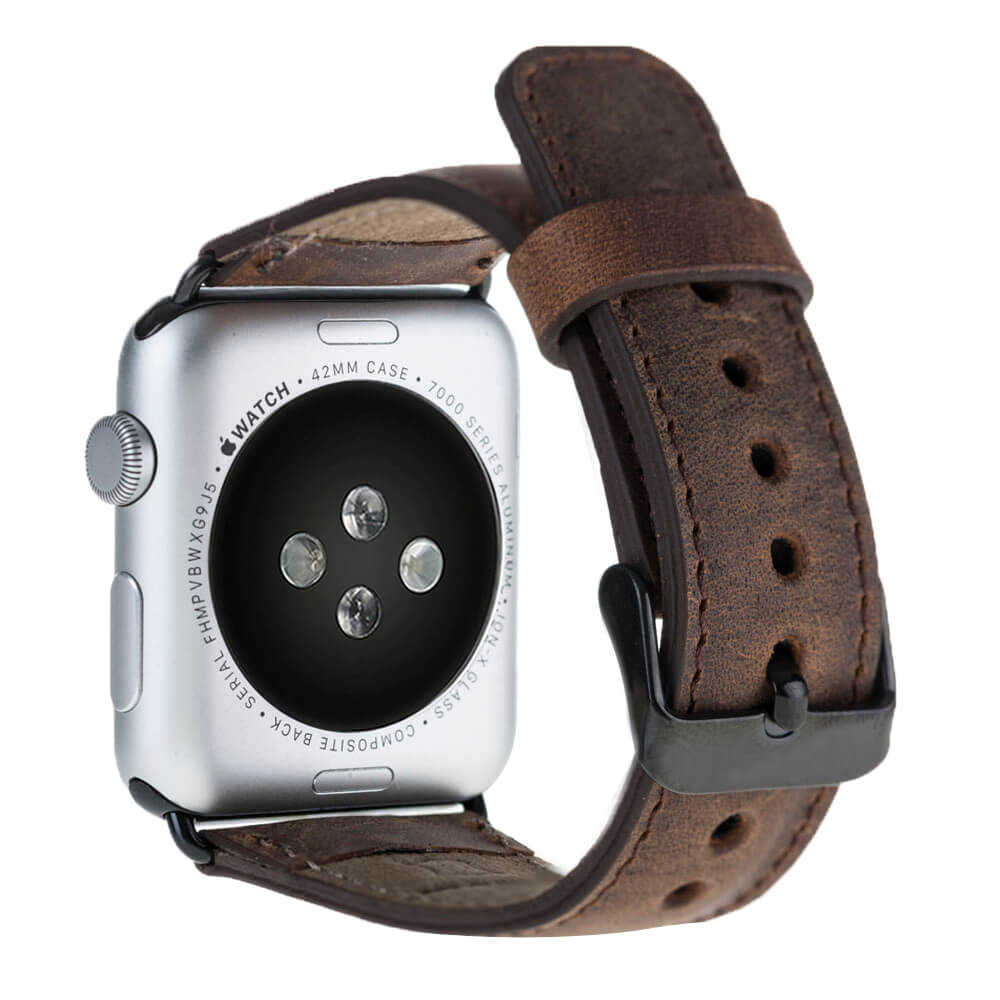 Armband aus echtem Leder für die Apple Watch Series 1 - 4 Leder Lederarmband in 42mm/44mm mit Space Grau Connectoren