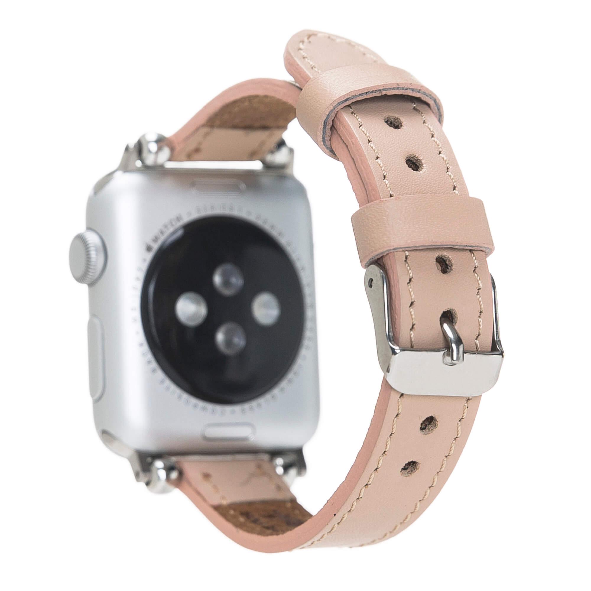 "Lederarmband ""Lady Slim"" für das Apple Watch Series 1-6 + SE in 38/40mm Cognac Braun Burned"